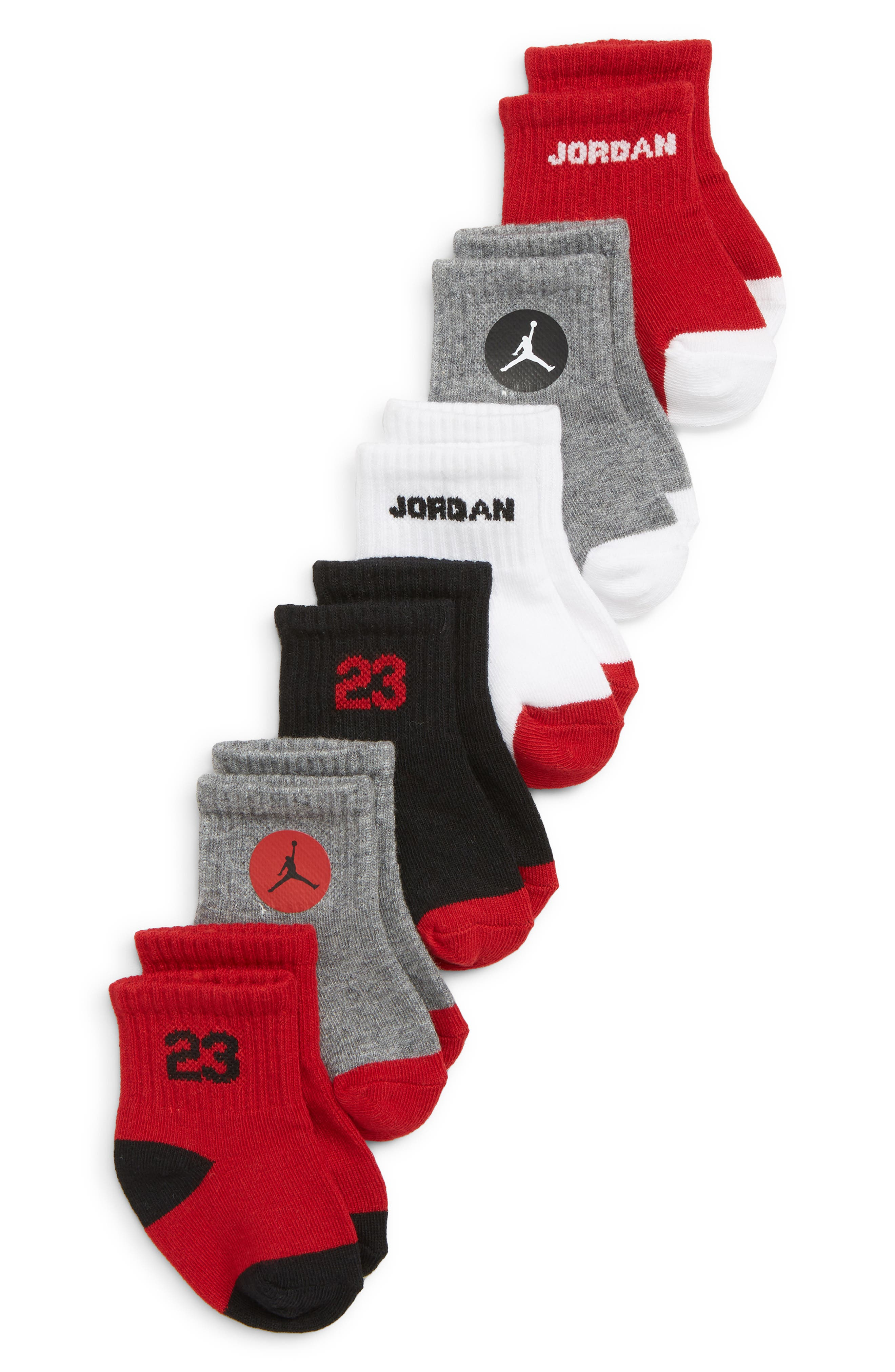 6-Pack Jordan Legend Quarter Socks,                             Main thumbnail 1, color,                             GYM RED