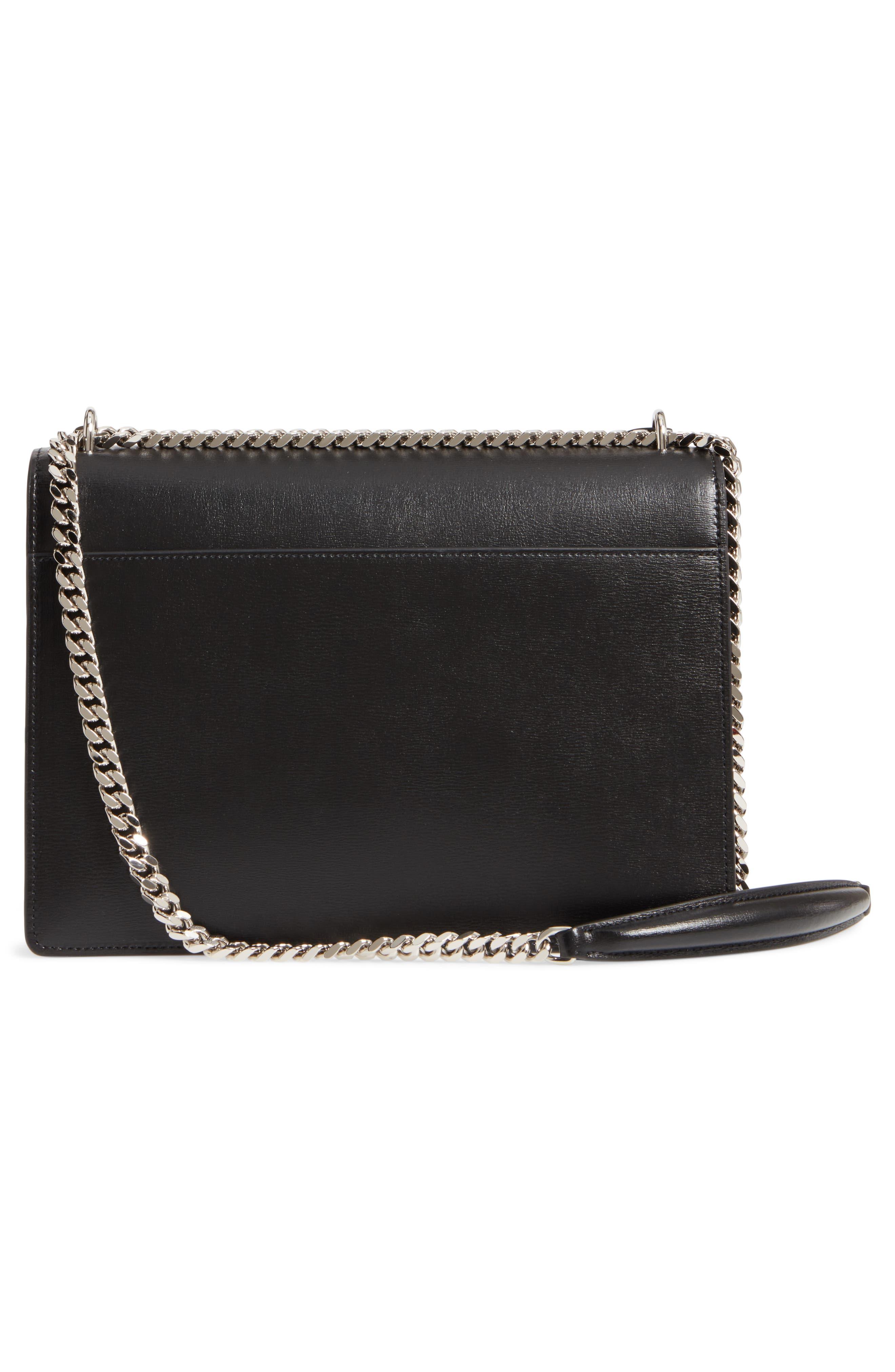 Medium Sunset Leather Shoulder Bag,                             Alternate thumbnail 3, color,                             NOIR