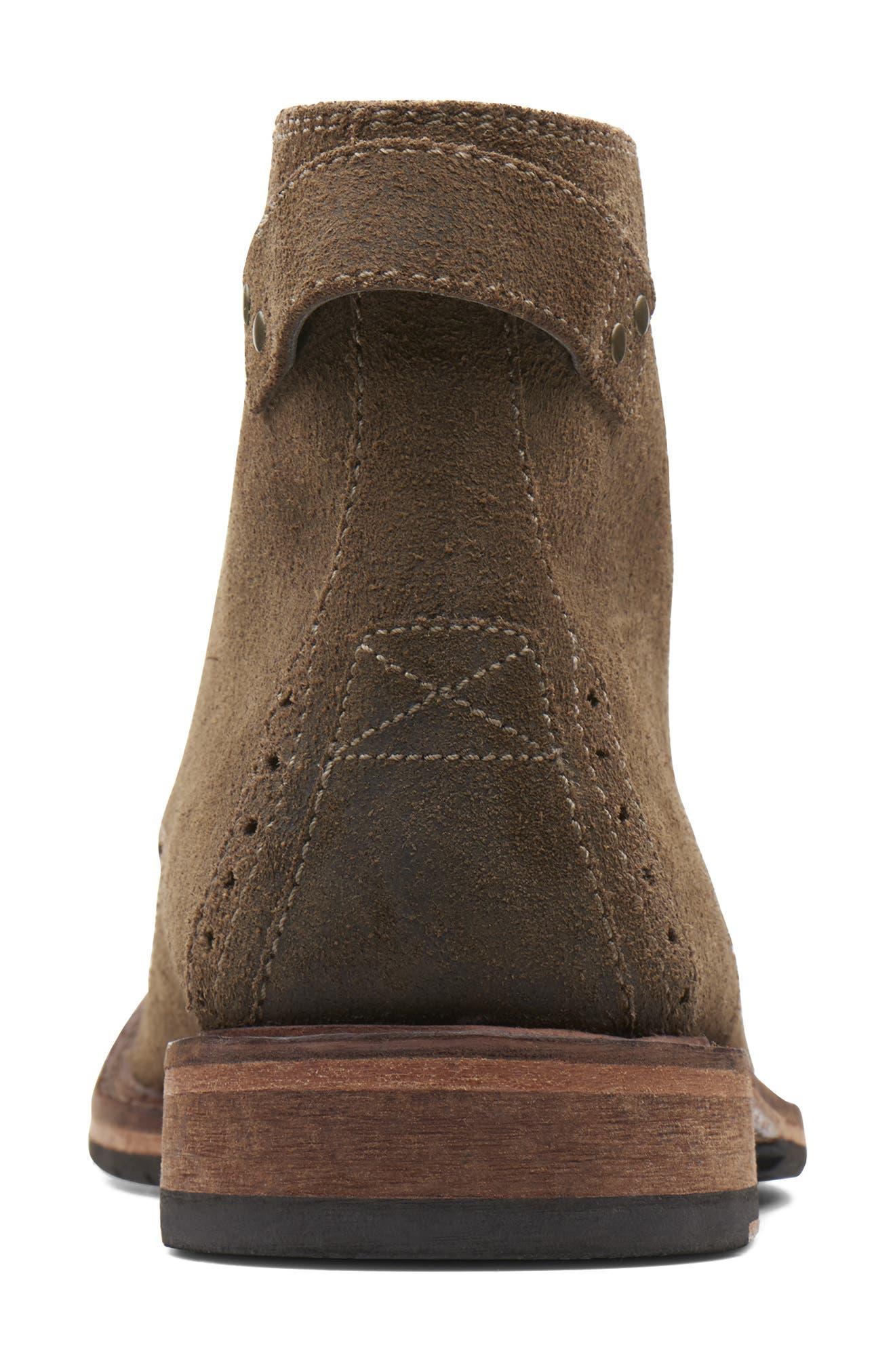 Clarkdale Bud Plain Toe Boot,                             Alternate thumbnail 4, color,                             KHAKI SUEDE