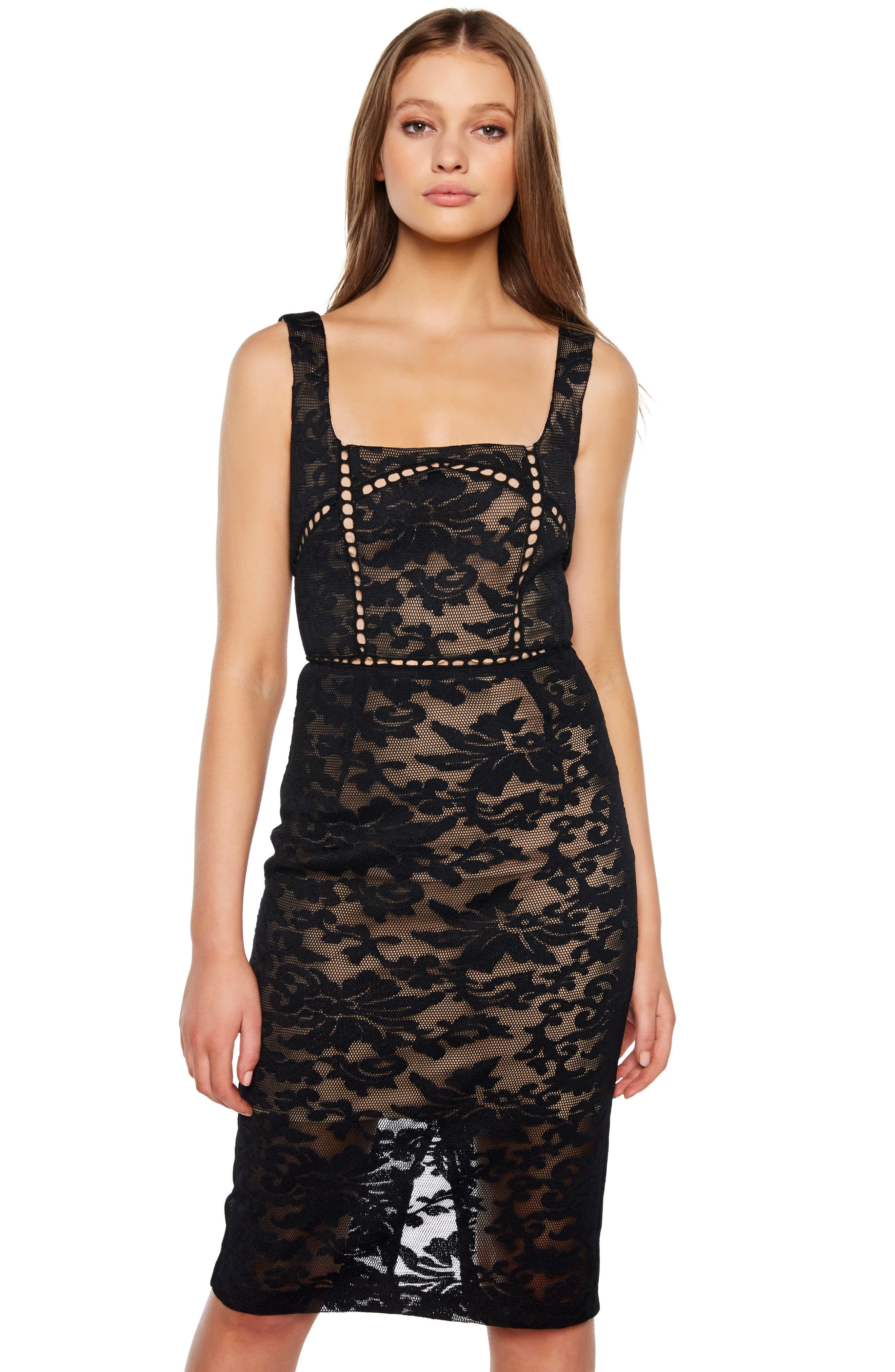 Stella Lace Sheath Dress,                             Alternate thumbnail 7, color,                             BLACK