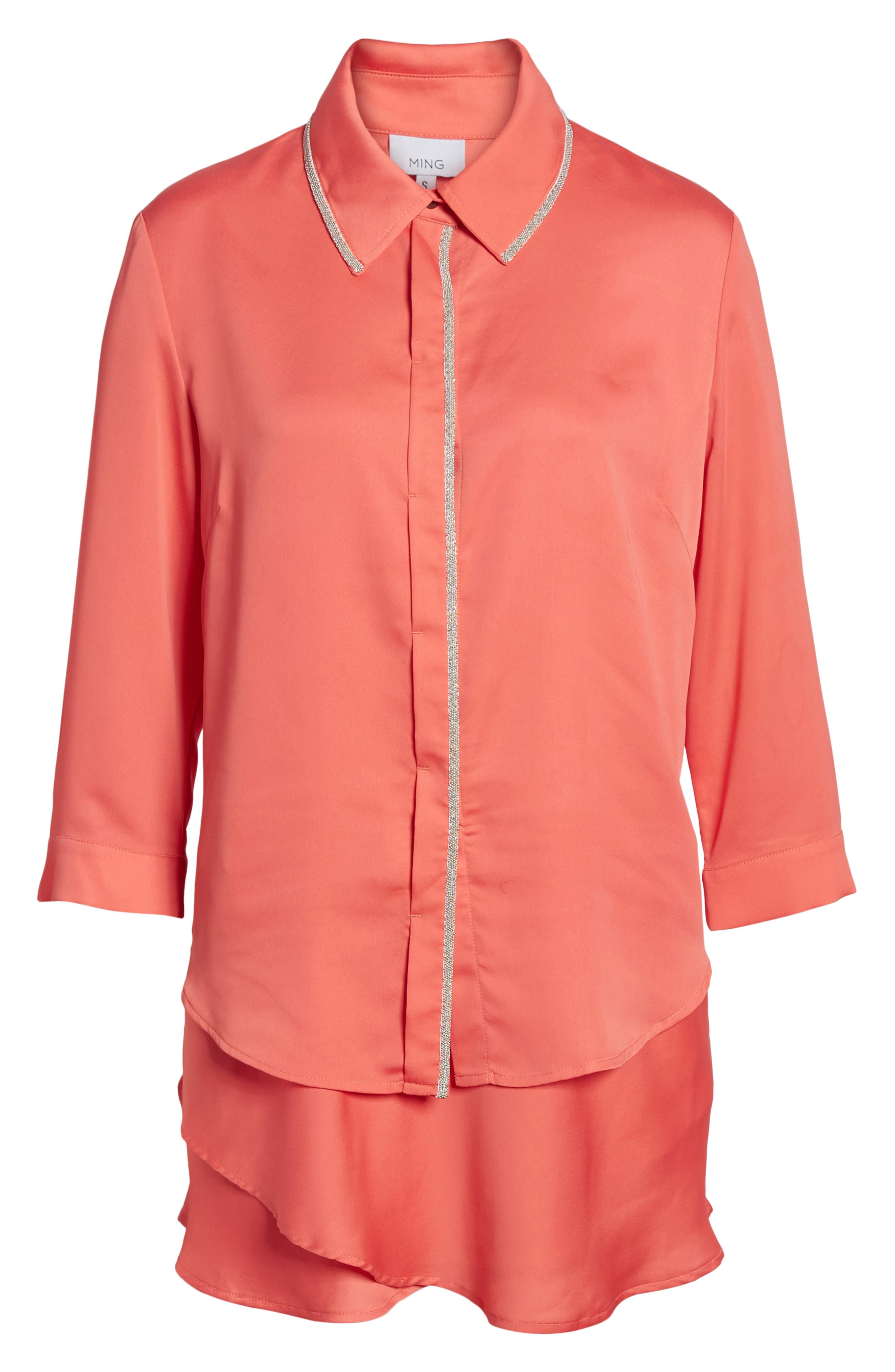 Tiered Tunic Shirt,                             Alternate thumbnail 6, color,                             DAYLILY