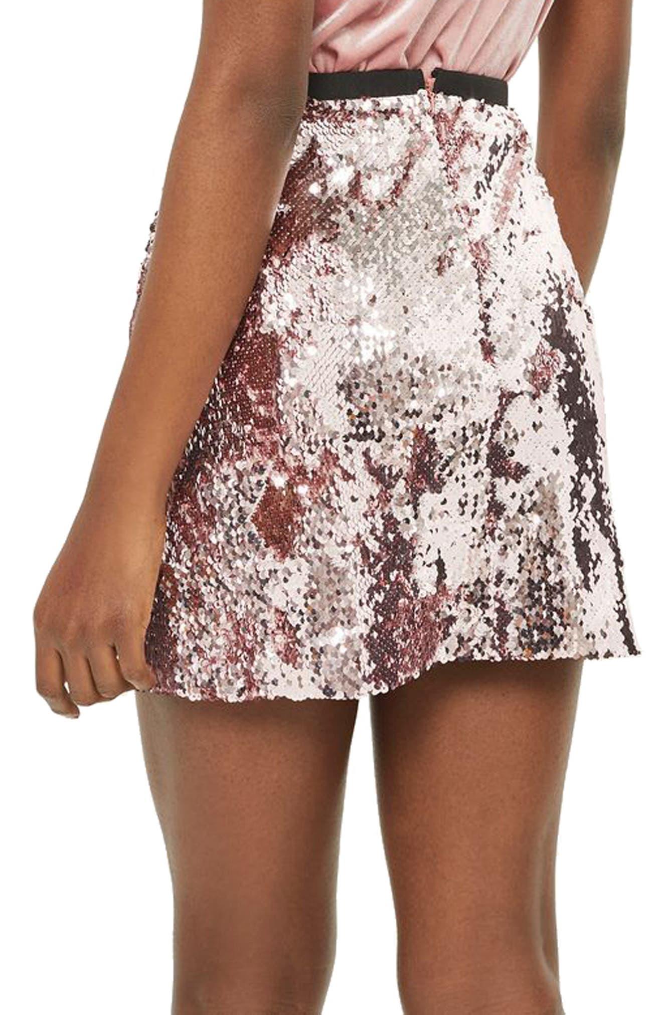 Sequin Miniskirt,                             Alternate thumbnail 2, color,                             680