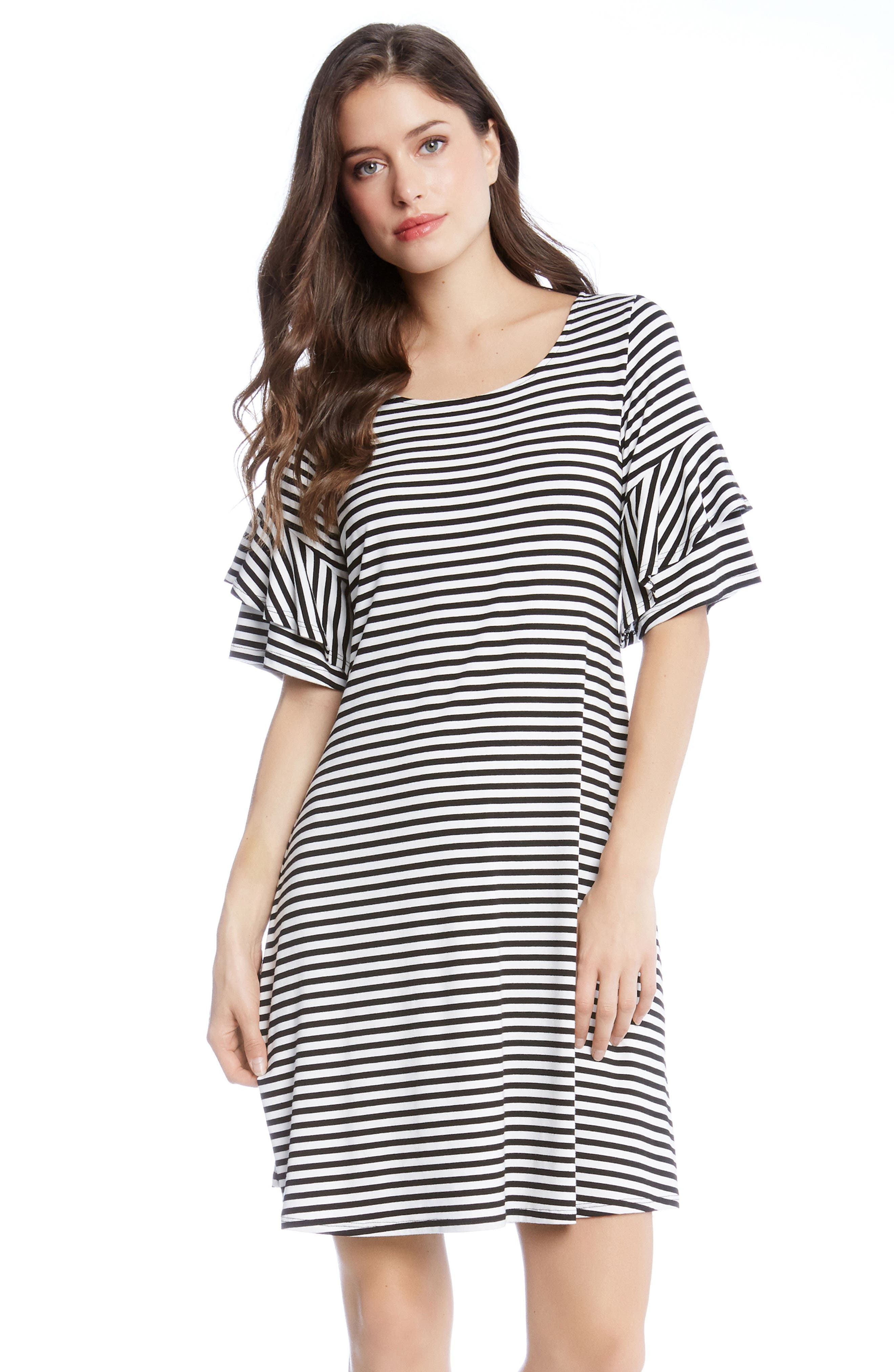 Ruffle Sleeve Stripe Dress,                             Alternate thumbnail 4, color,                             001