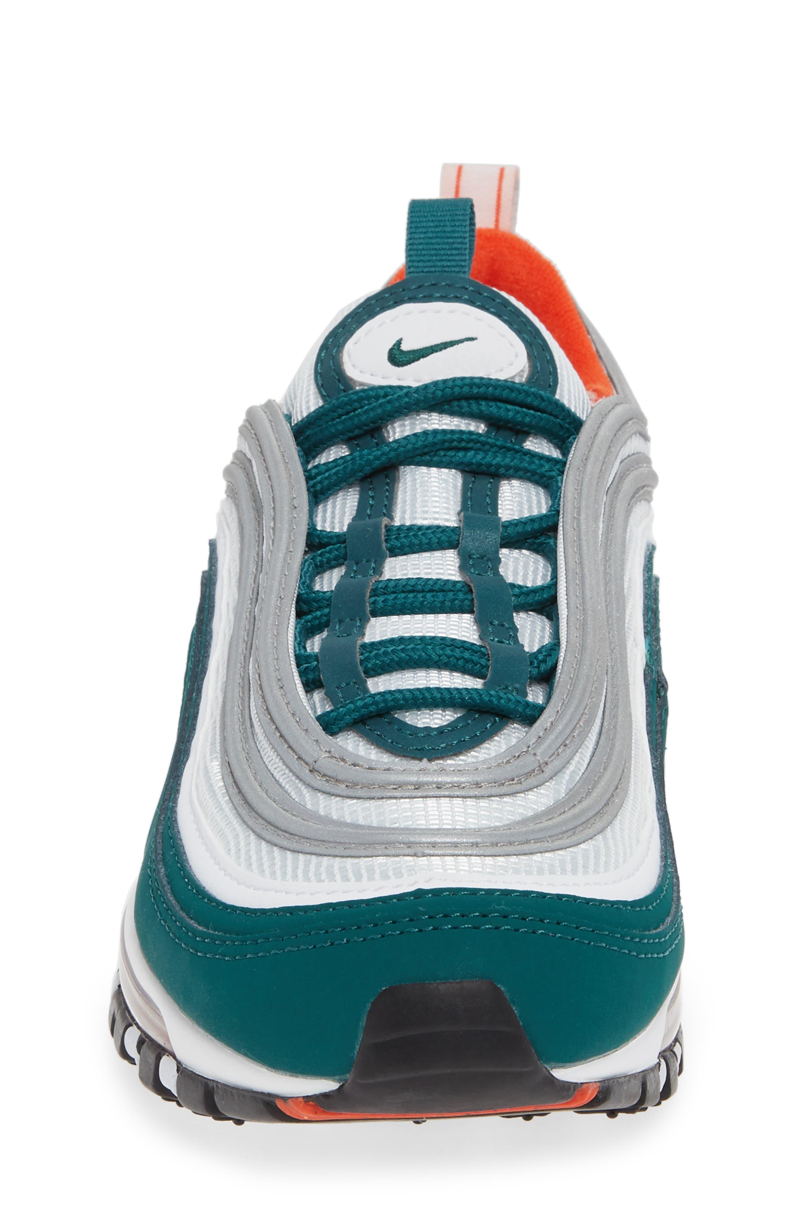 NIKE,                             Air Max 97 Sneaker,                             Alternate thumbnail 4, color,                             RAINFOREST/ WHITE/ ORANGE
