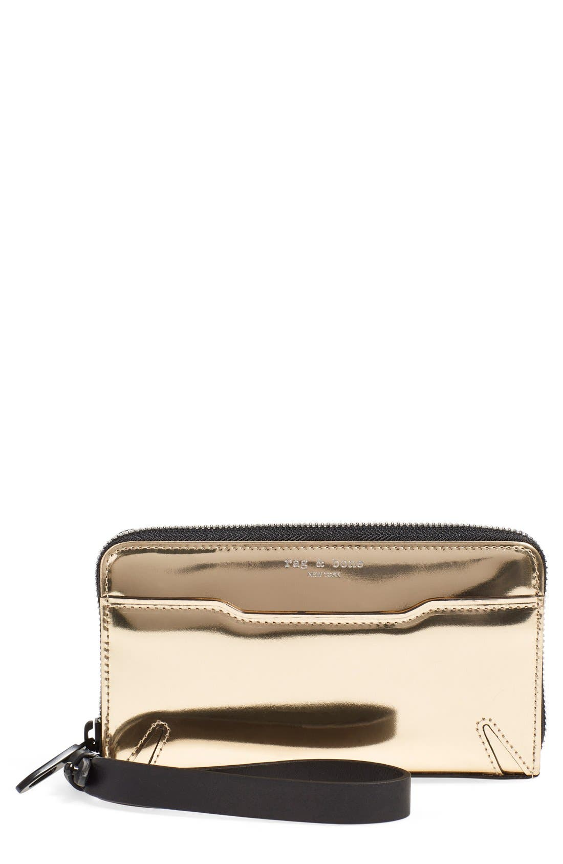 'Devon' Metallic Leather Zip Smartphone Wallet, Main, color, 710