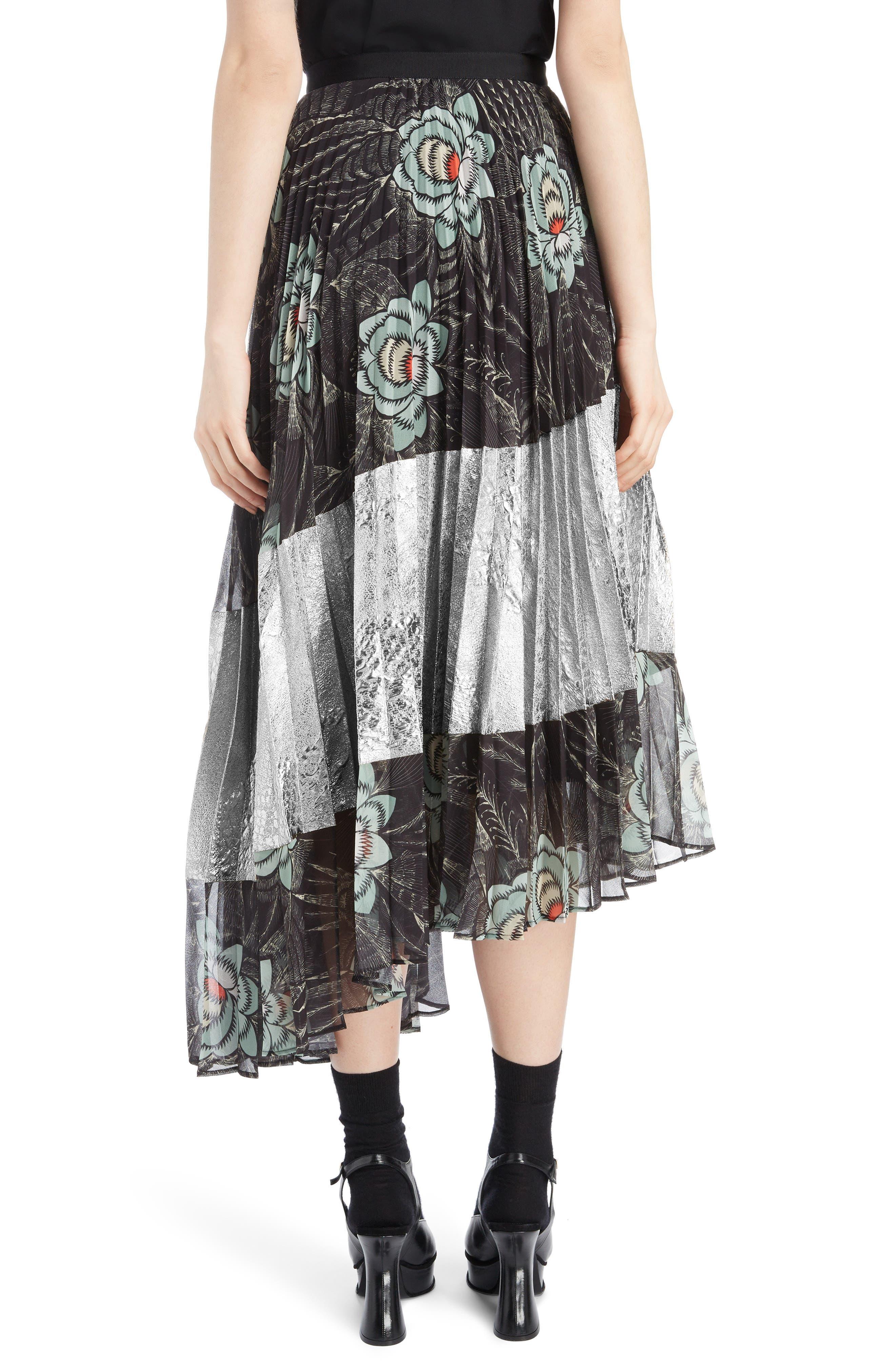 Pleated Floral Print & Metallic Skirt,                             Alternate thumbnail 2, color,                             BLACK