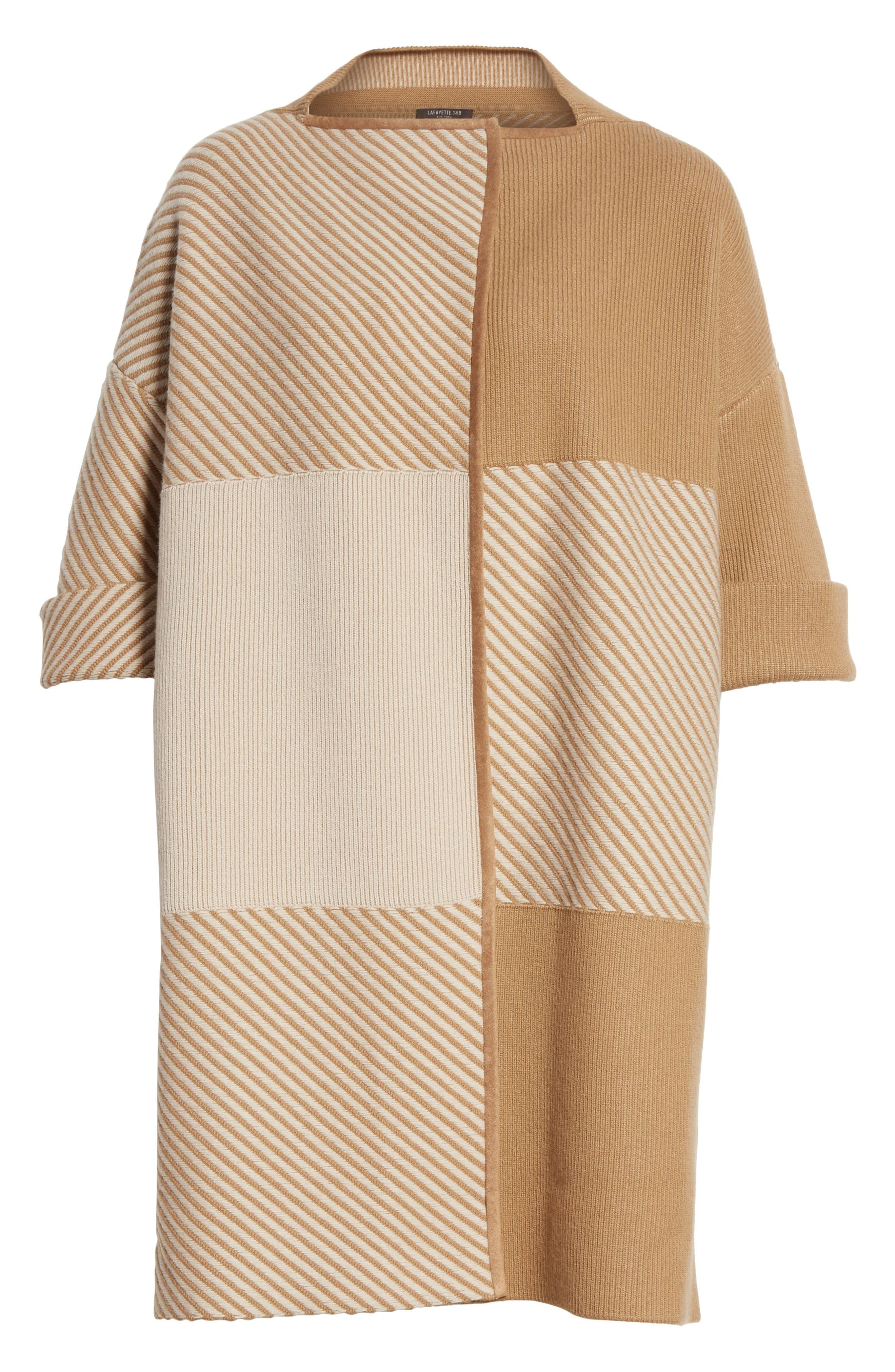 Flannel Bicolor Jacquard Coat,                             Alternate thumbnail 5, color,                             200