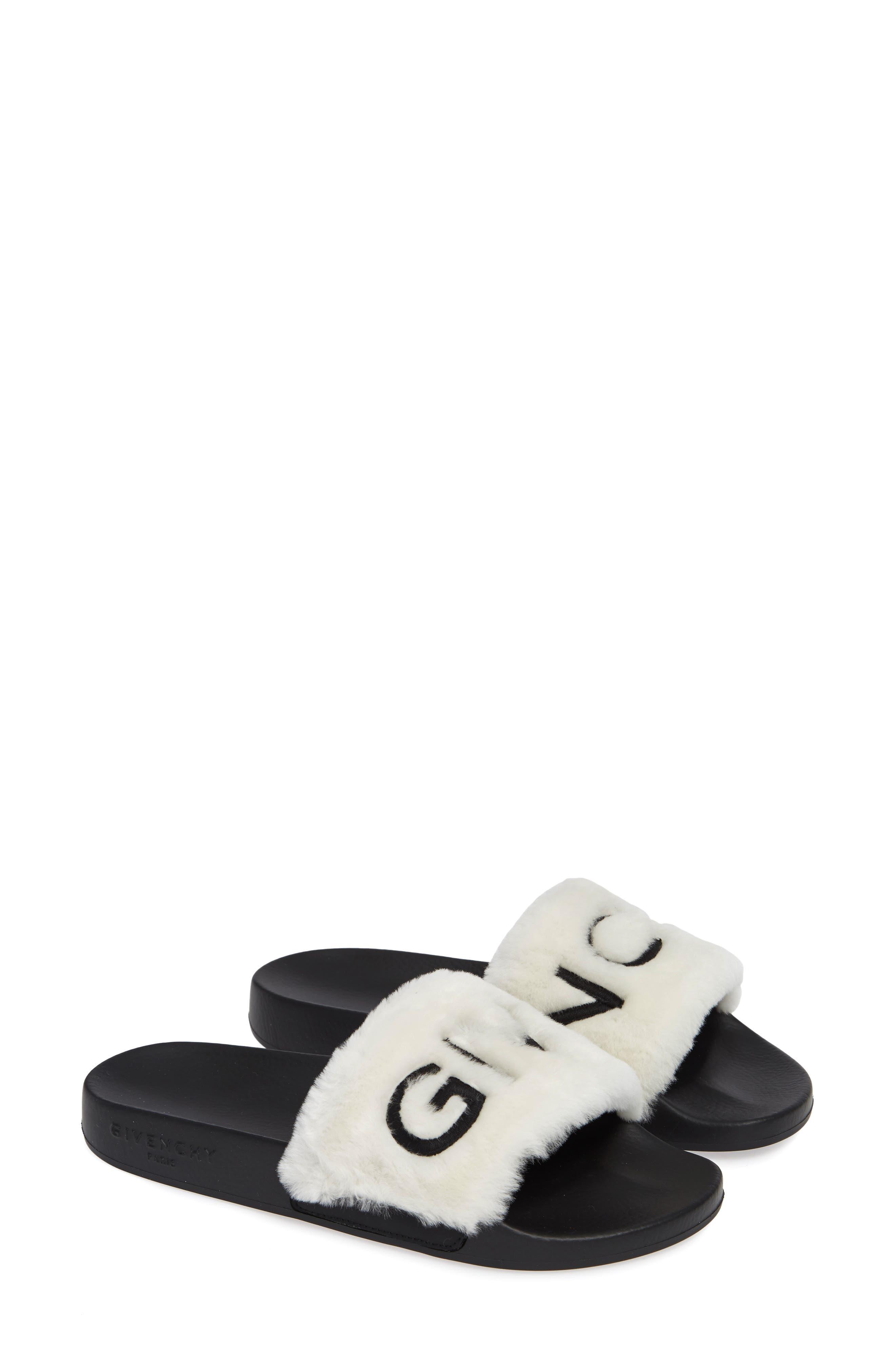 Logo Genuine Shearling Slide Sandal,                             Alternate thumbnail 2, color,                             WHITE/ BLACK
