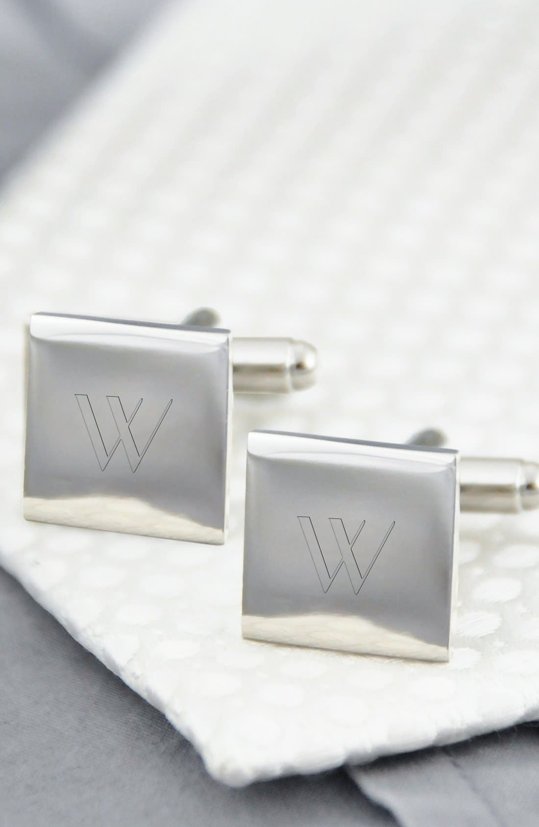Monogram Square Cuff Links,                             Main thumbnail 1, color,                             W
