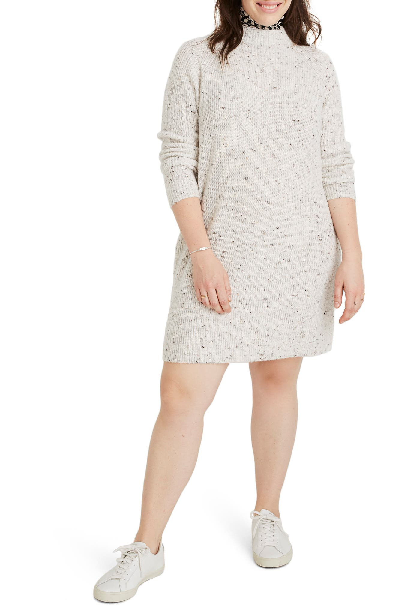 Northfield Donegal Mock Neck Sweater Dress,                             Alternate thumbnail 2, color,                             DONEGAL STORM