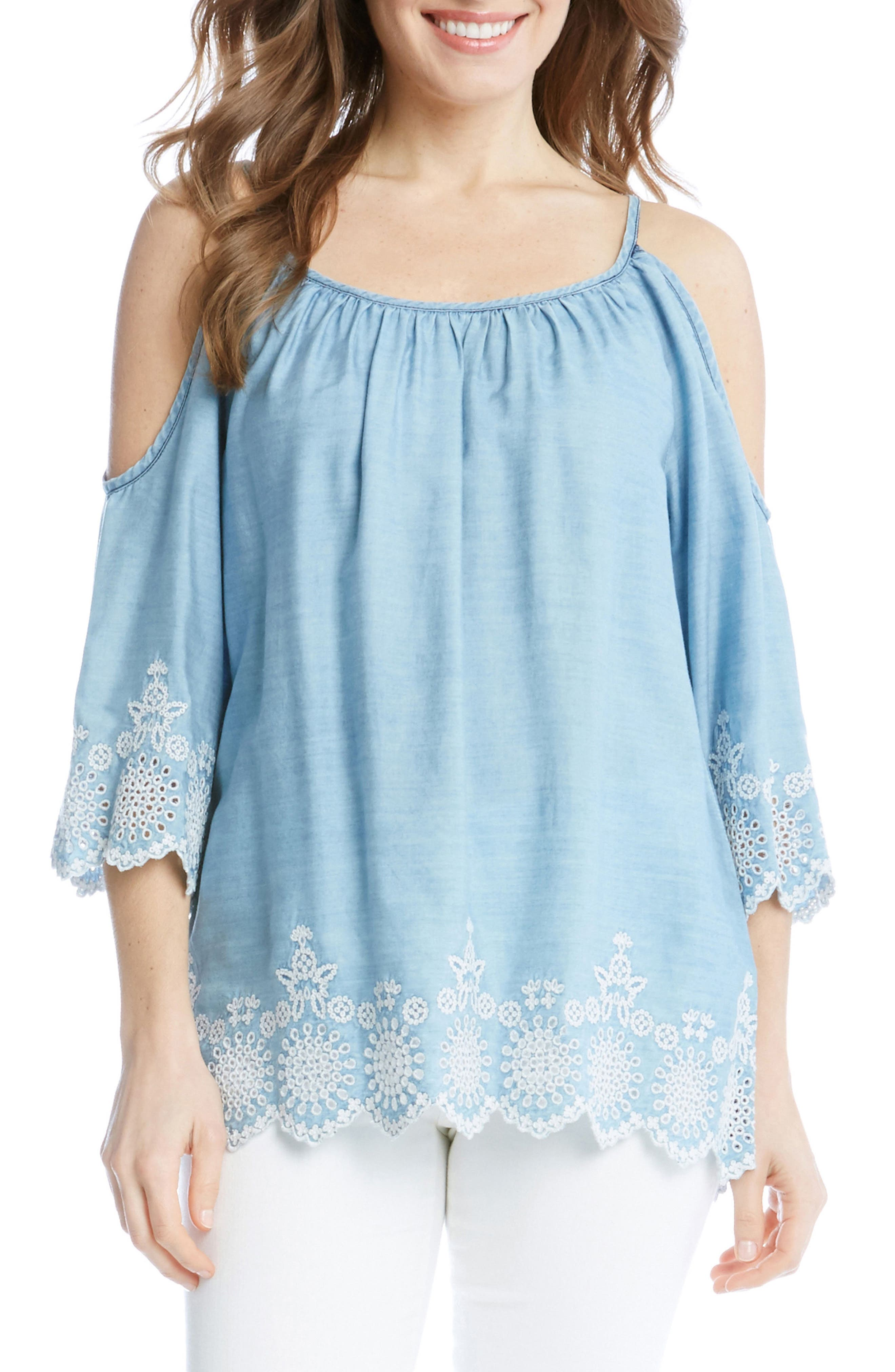 Embroidered Chambray Cold Shoulder Top,                             Main thumbnail 1, color,                             455