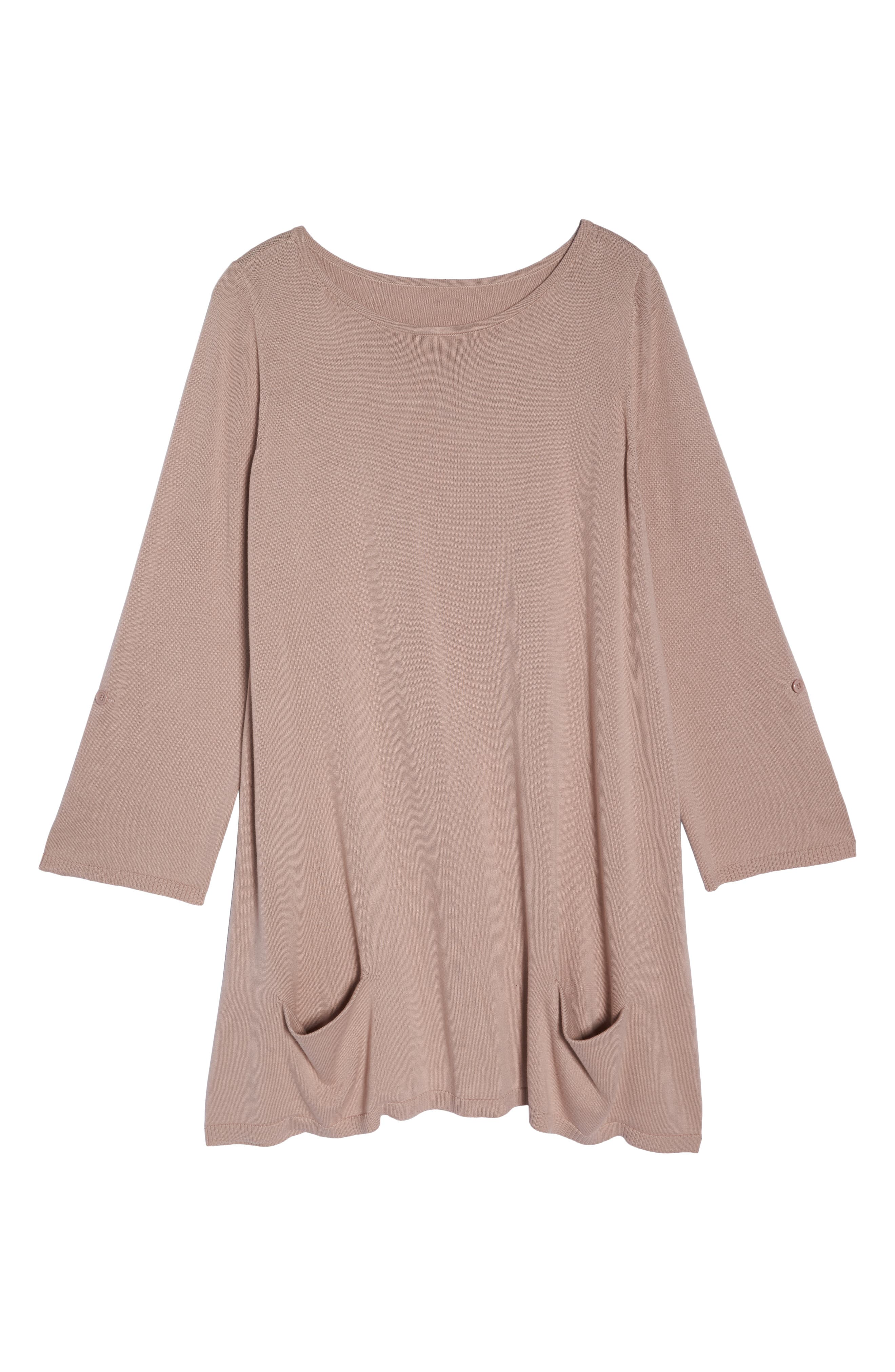 Roll Sleeve Tunic Sweater,                             Alternate thumbnail 6, color,                             PINK ADOBE