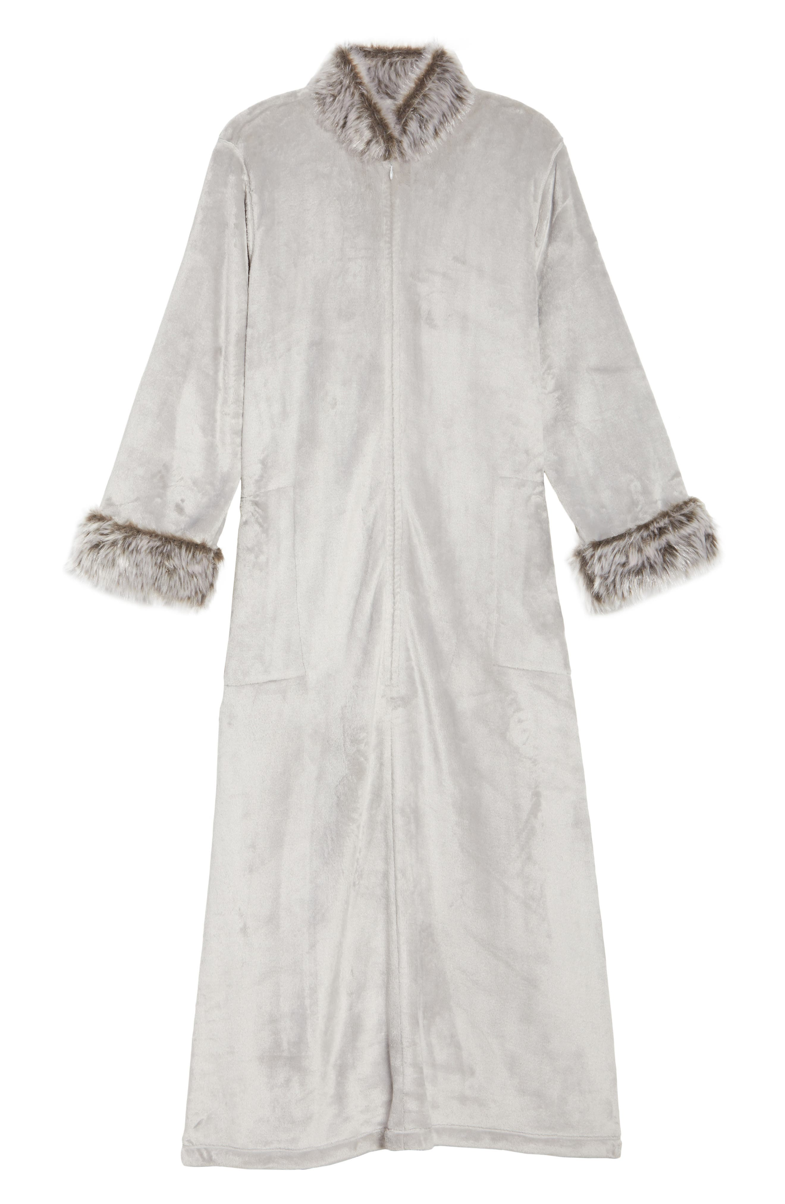 Fleece & Faux Fur Caftan,                             Alternate thumbnail 6, color,                             052