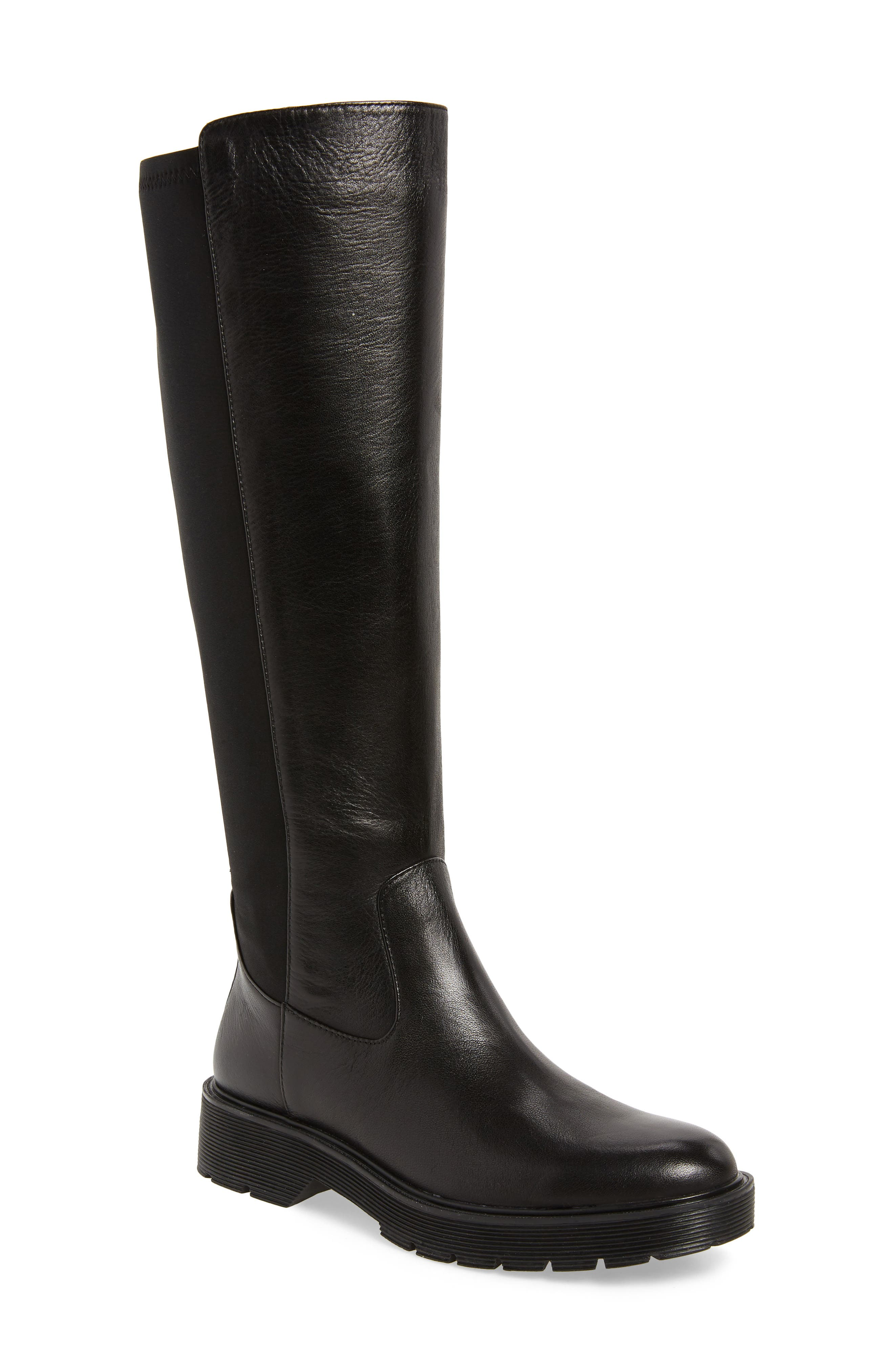 CALVIN KLEIN Themis Knee High Riding Boot, Main, color, BLACK LEATHER