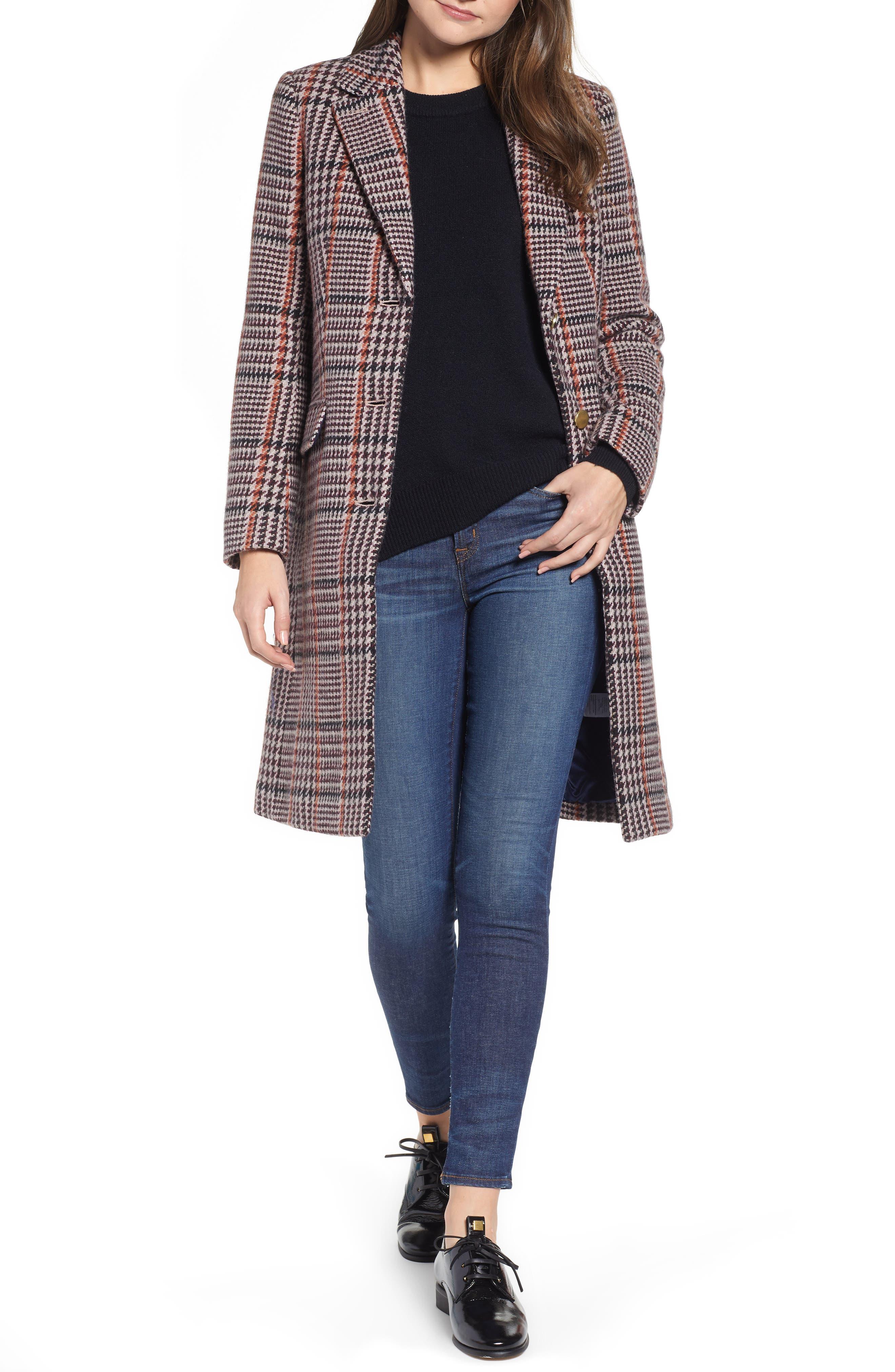 Plaid Single Breasted Topcoat,                         Main,                         color, CABERNET PLAID
