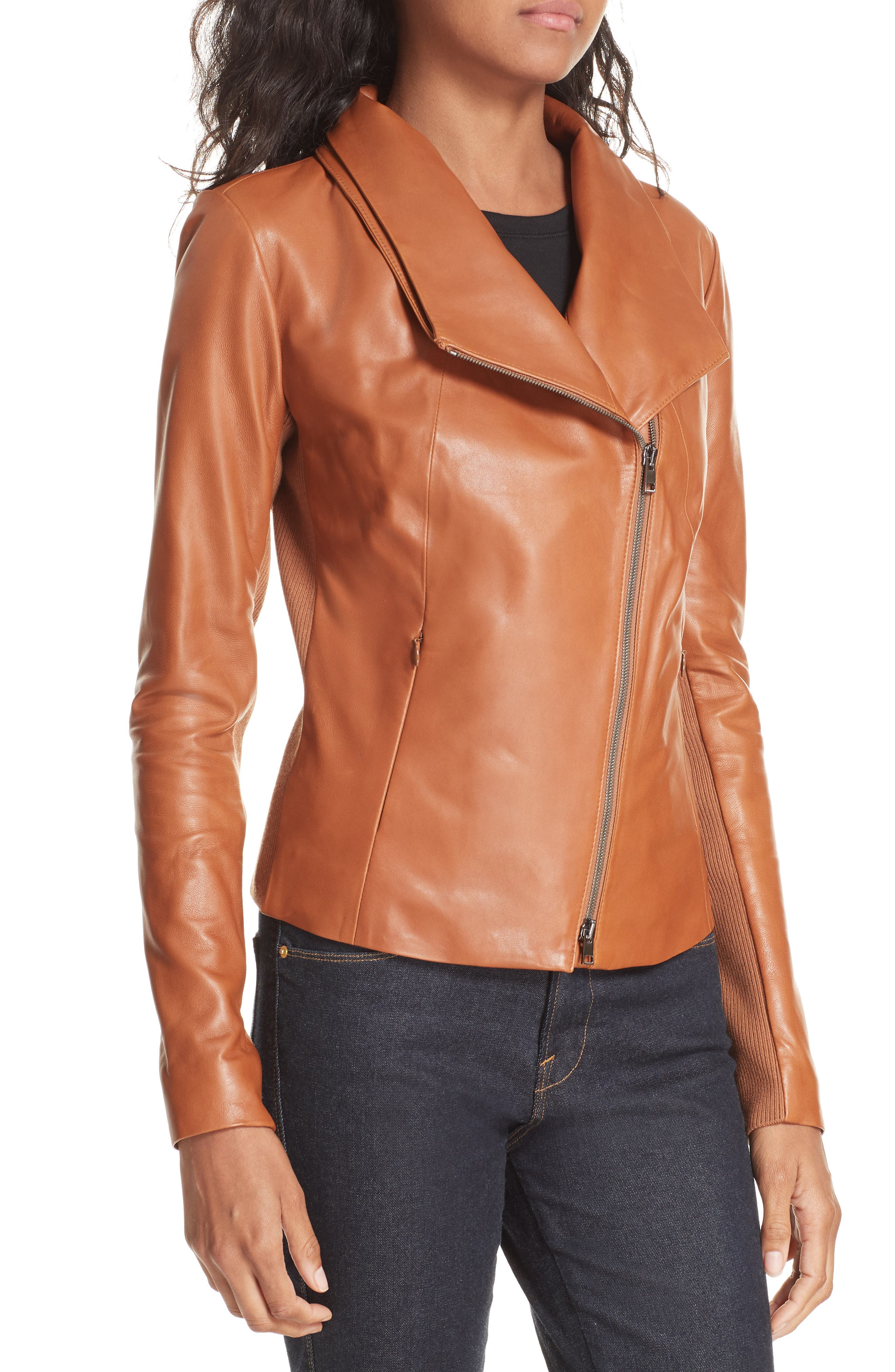 Stand Collar Leather Jacket,                             Alternate thumbnail 4, color,                             RUST BISQUE