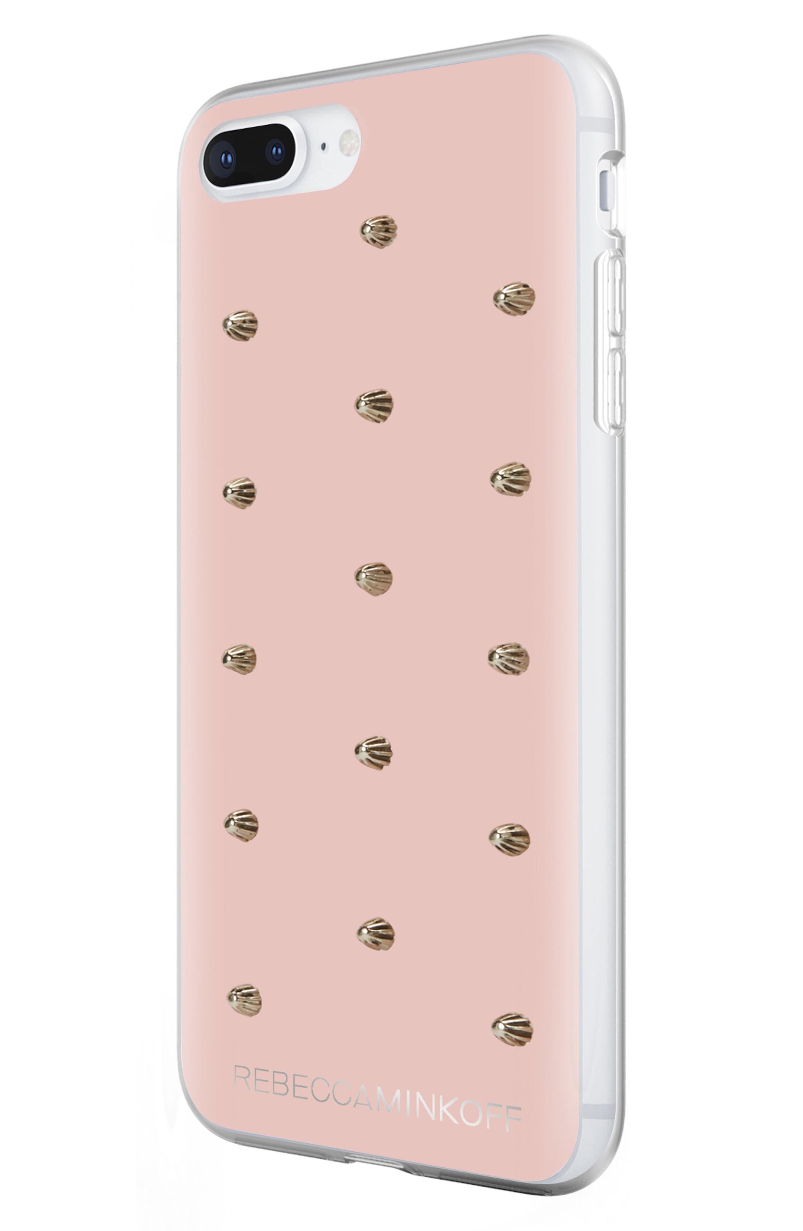 Flower Stud iPhone 7/8 & 7/8 Plus Case,                             Alternate thumbnail 2, color,                             ROSE GOLD/ GOLD STUDS