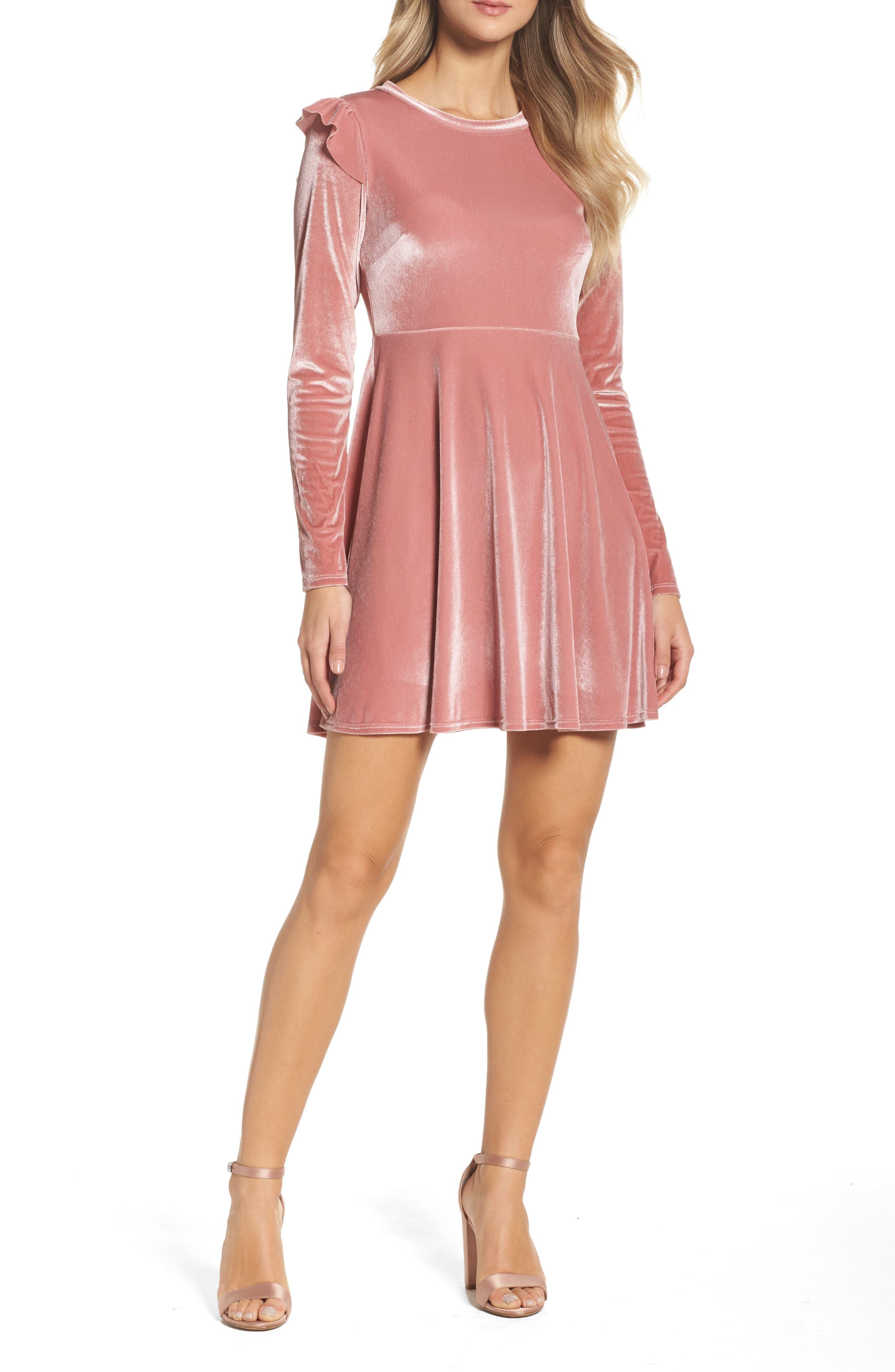 Velvet Fit & Flare Dress,                             Main thumbnail 2, color,