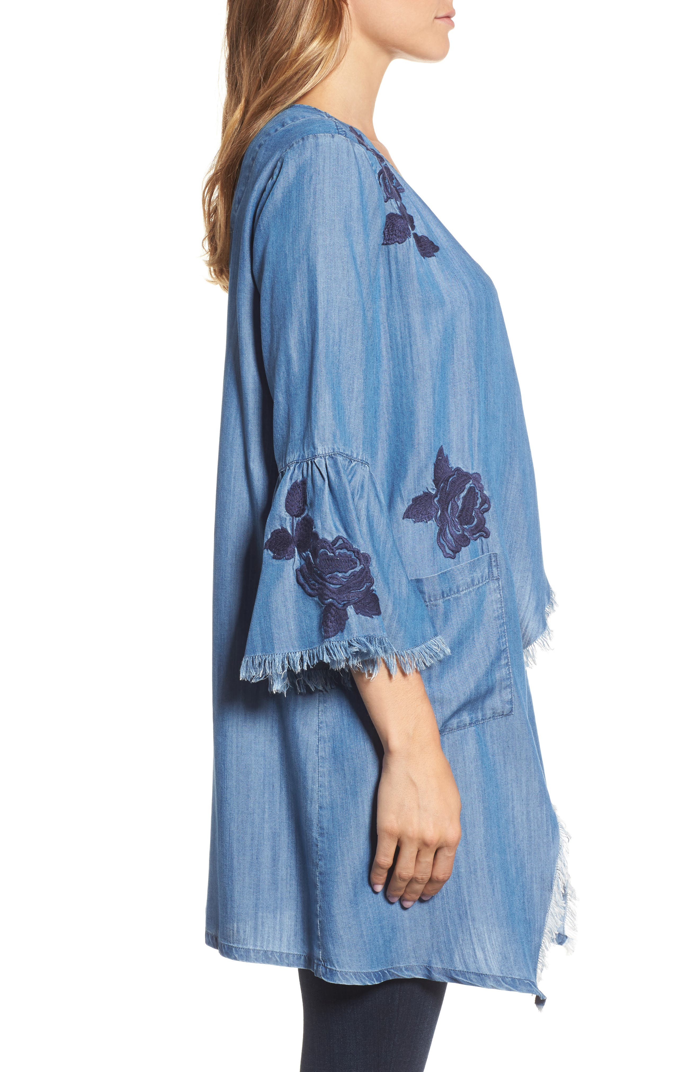 Embroidered Drape Front Chambray Cardigan,                             Alternate thumbnail 3, color,                             421