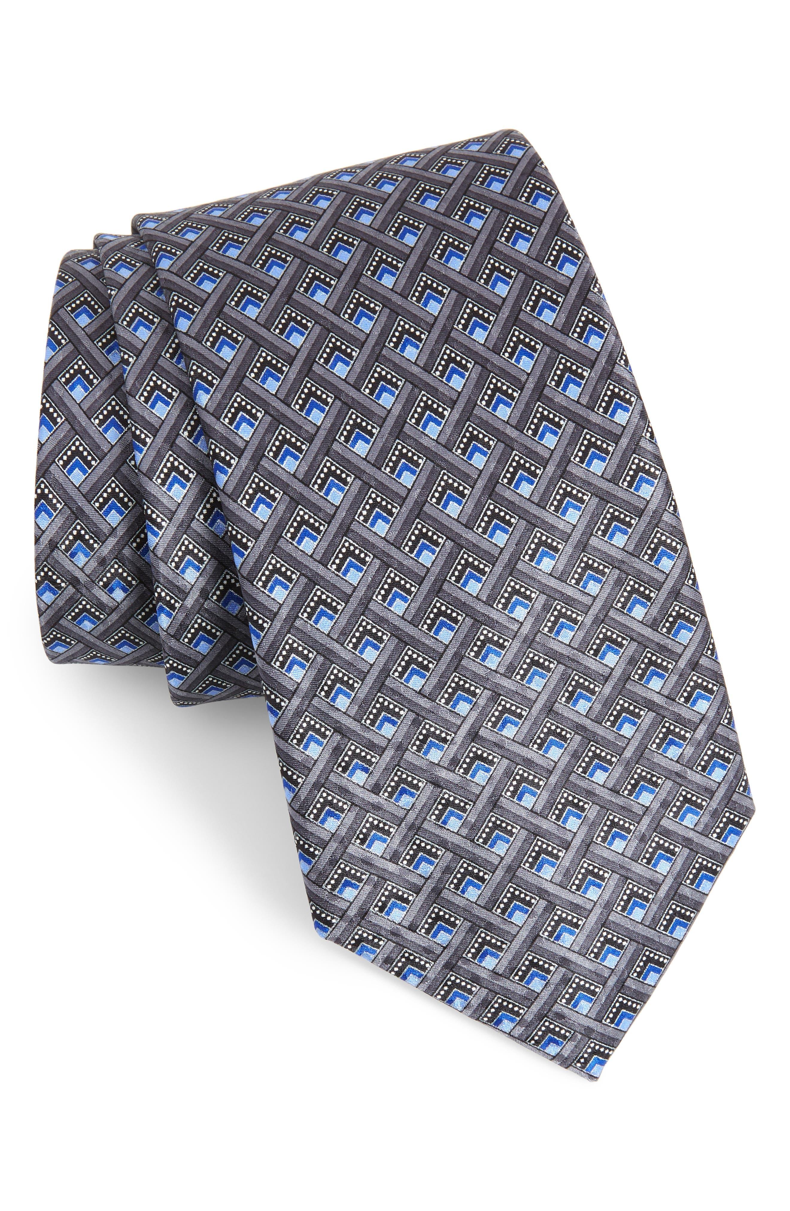 Geometric Silk Tie,                         Main,                         color, SILVER