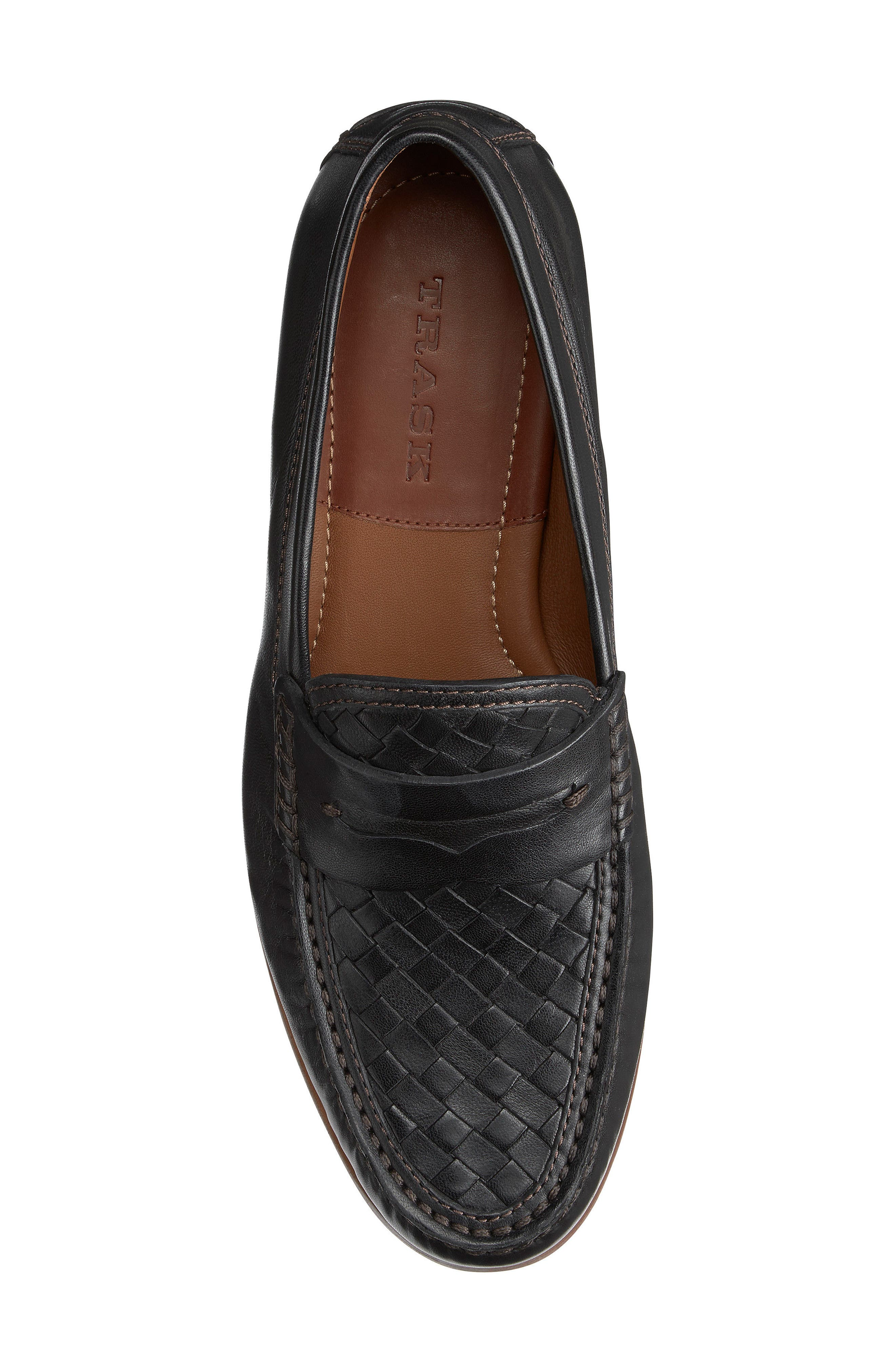 Slade Water Resistant Woven Penny Loafer,                             Alternate thumbnail 5, color,                             BLACK LEATHER