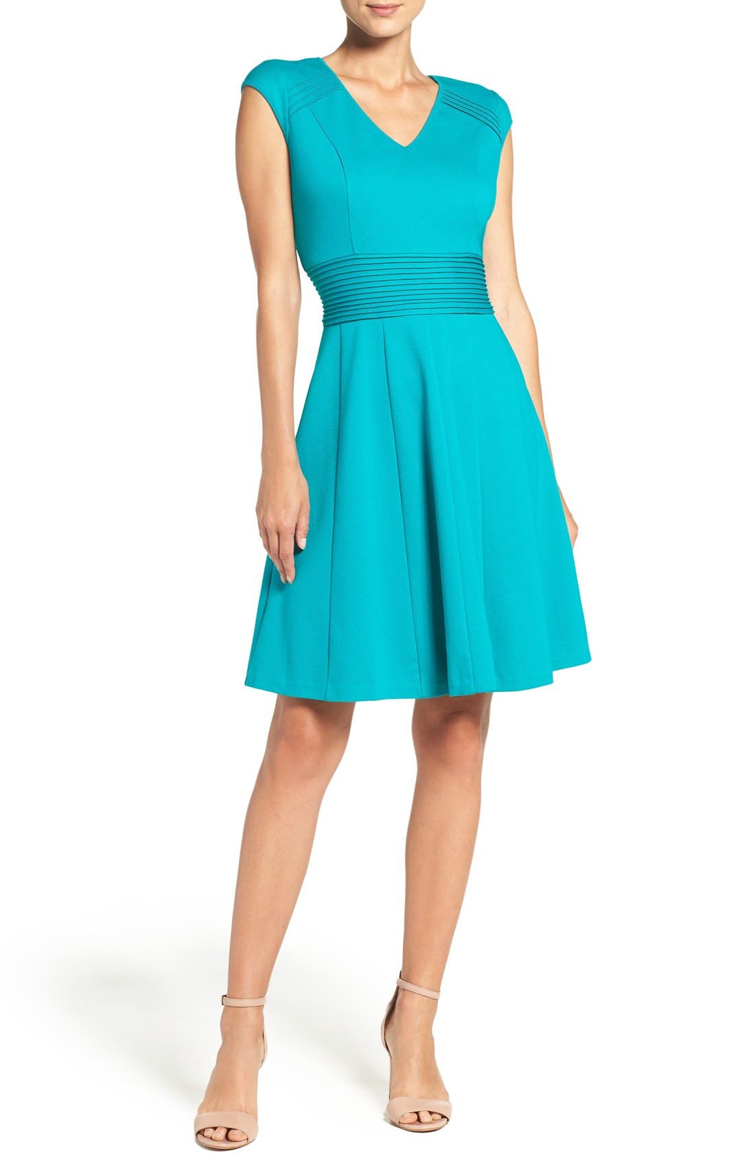Ponte Fit & Flare Dress,                             Alternate thumbnail 16, color,