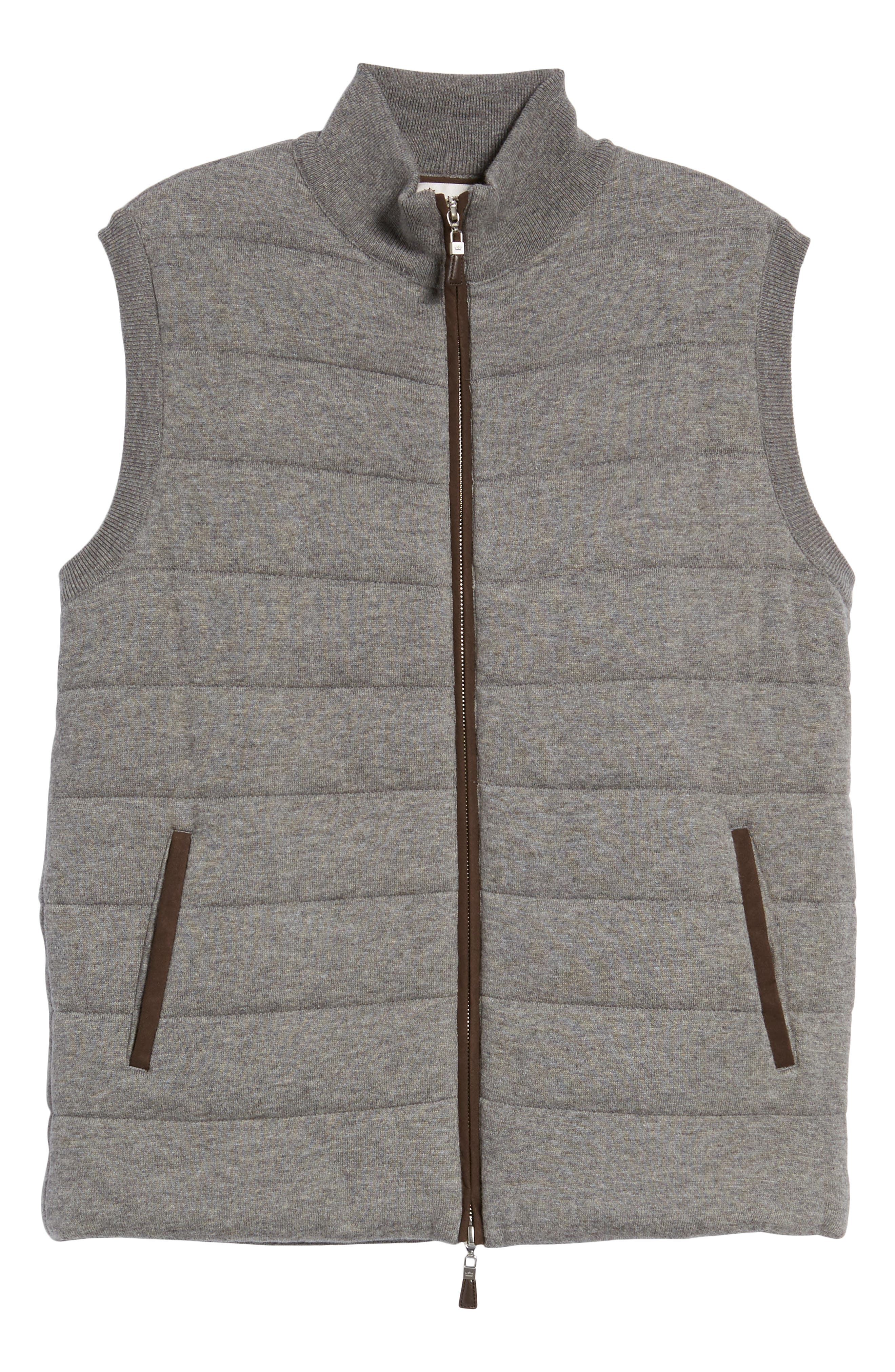 Quilted Wool & Cotton Full Zip Vest,                             Alternate thumbnail 6, color,                             020