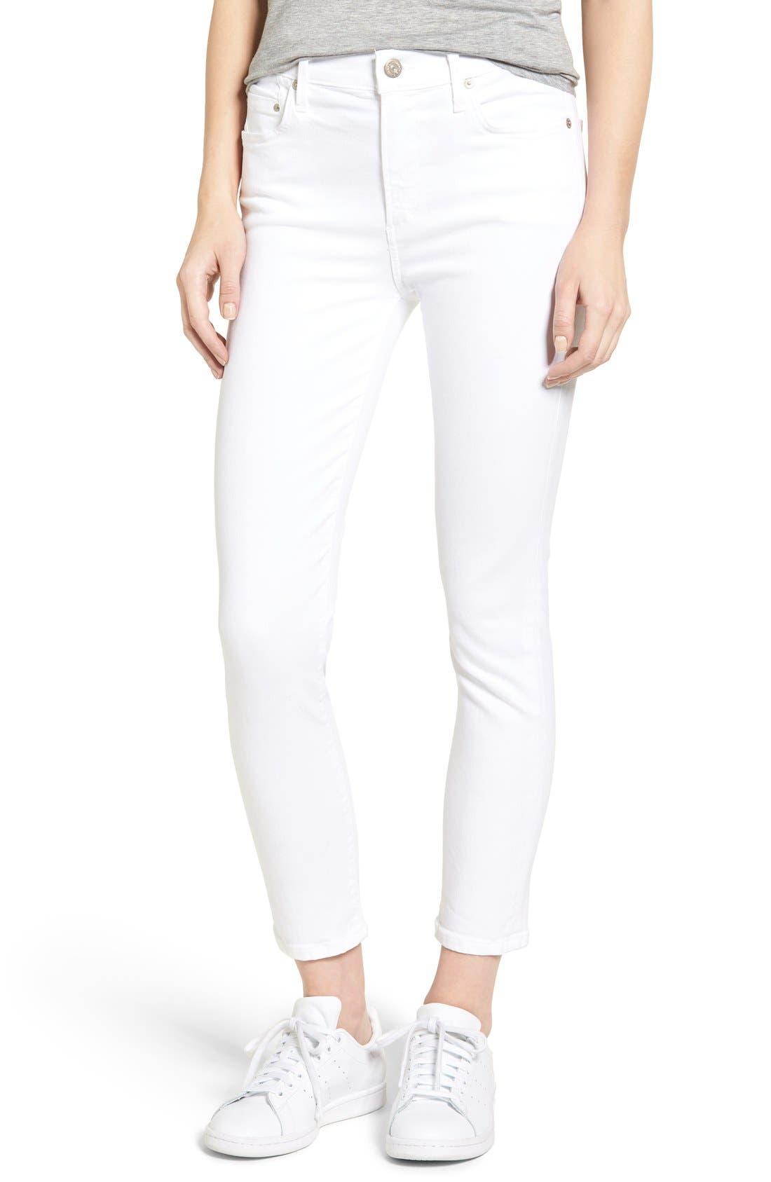 Rocket High Waist Crop Skinny Jeans,                             Alternate thumbnail 6, color,                             SCULPT WHITE