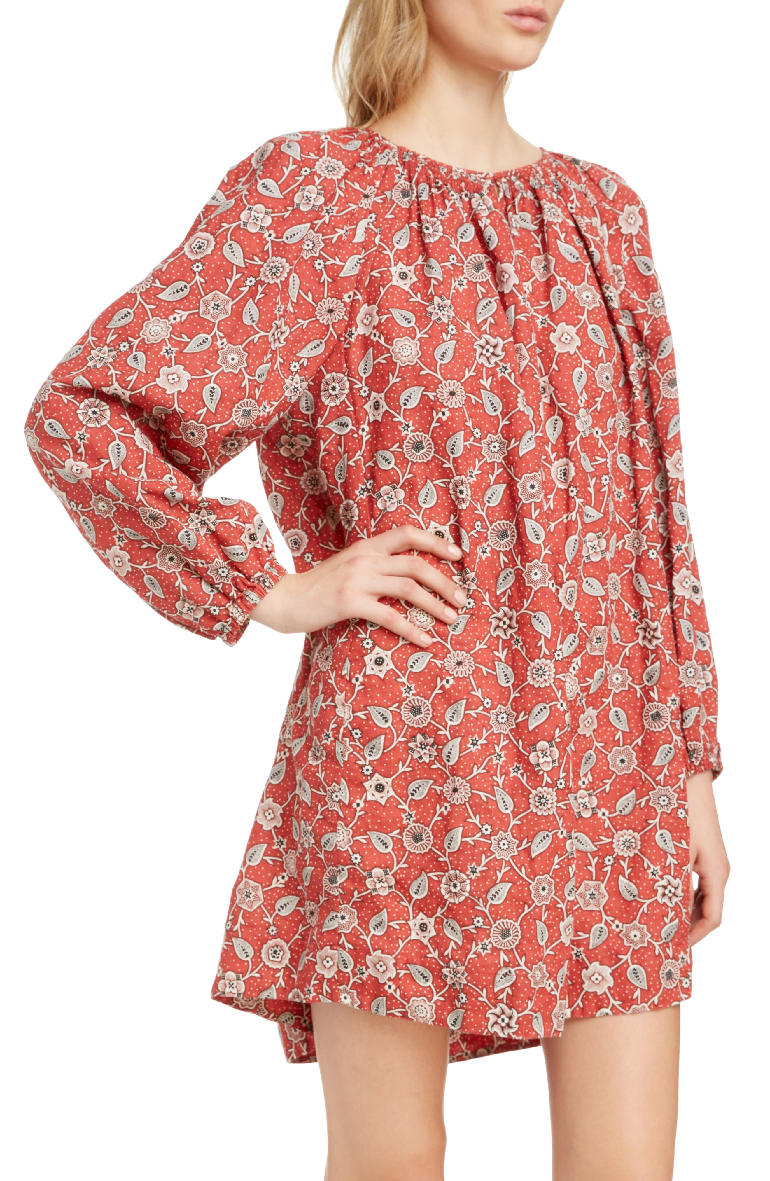 Tockya Print Linen Swing Dress,                             Alternate thumbnail 4, color,                             RUST