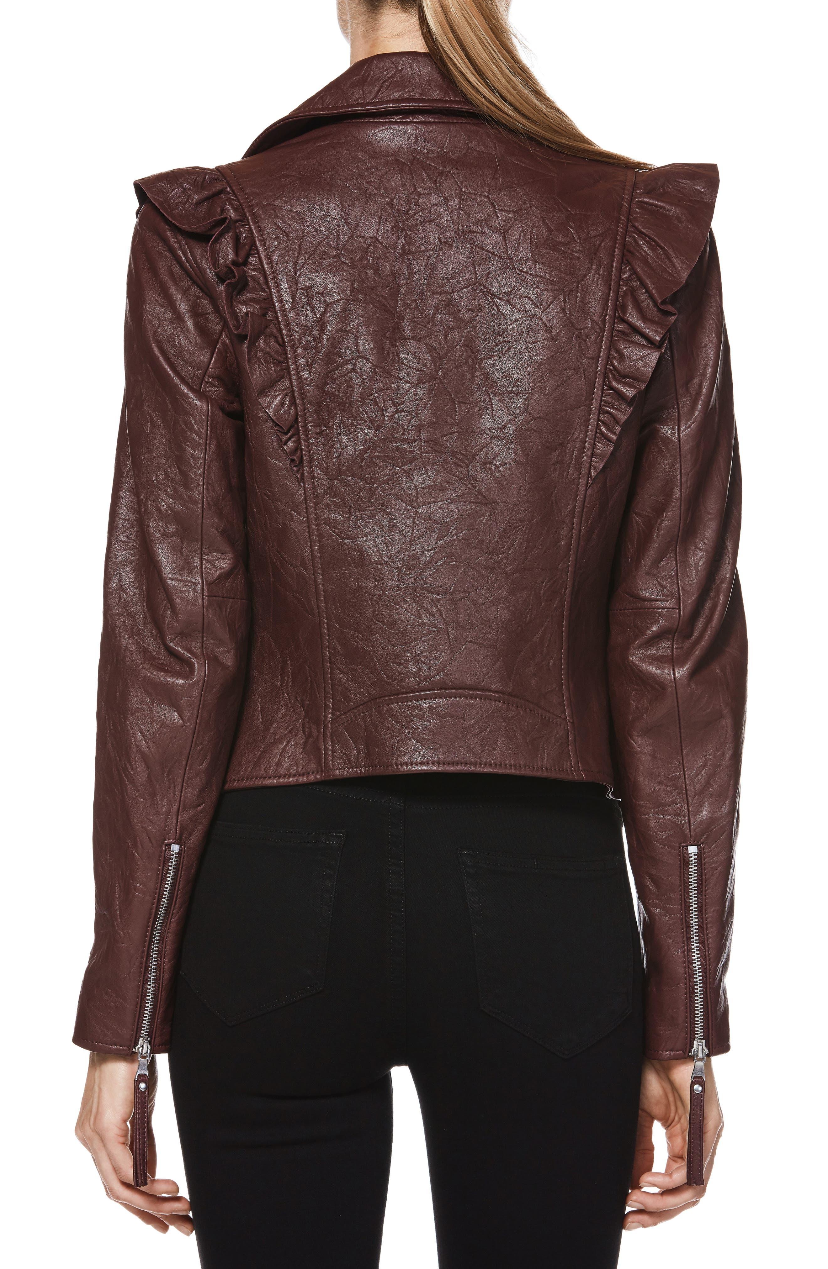 Annika Leather Moto Jacket,                             Alternate thumbnail 2, color,                             930
