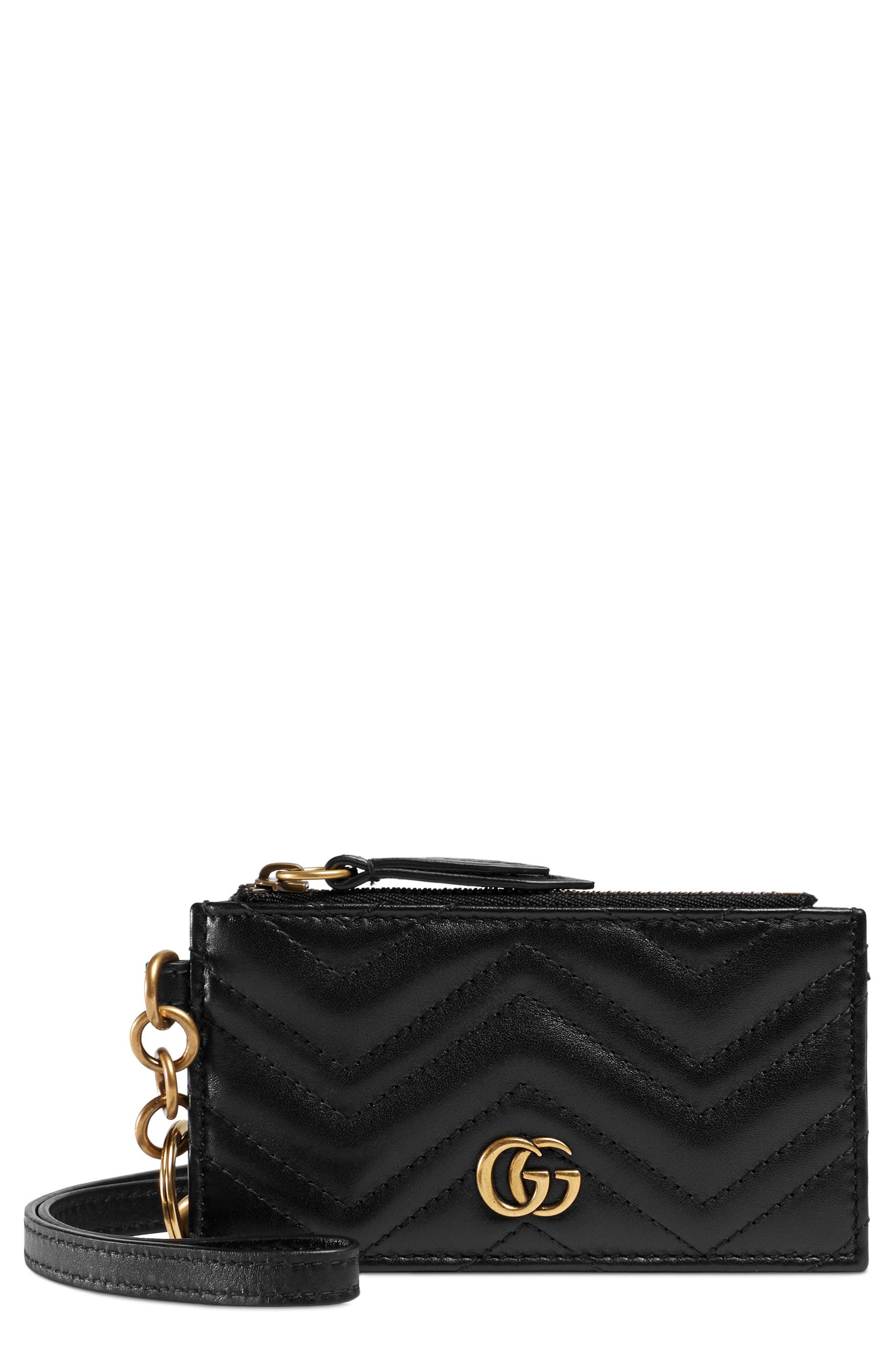 Marmont 2.0 Leather Card Case,                             Main thumbnail 1, color,                             NERO
