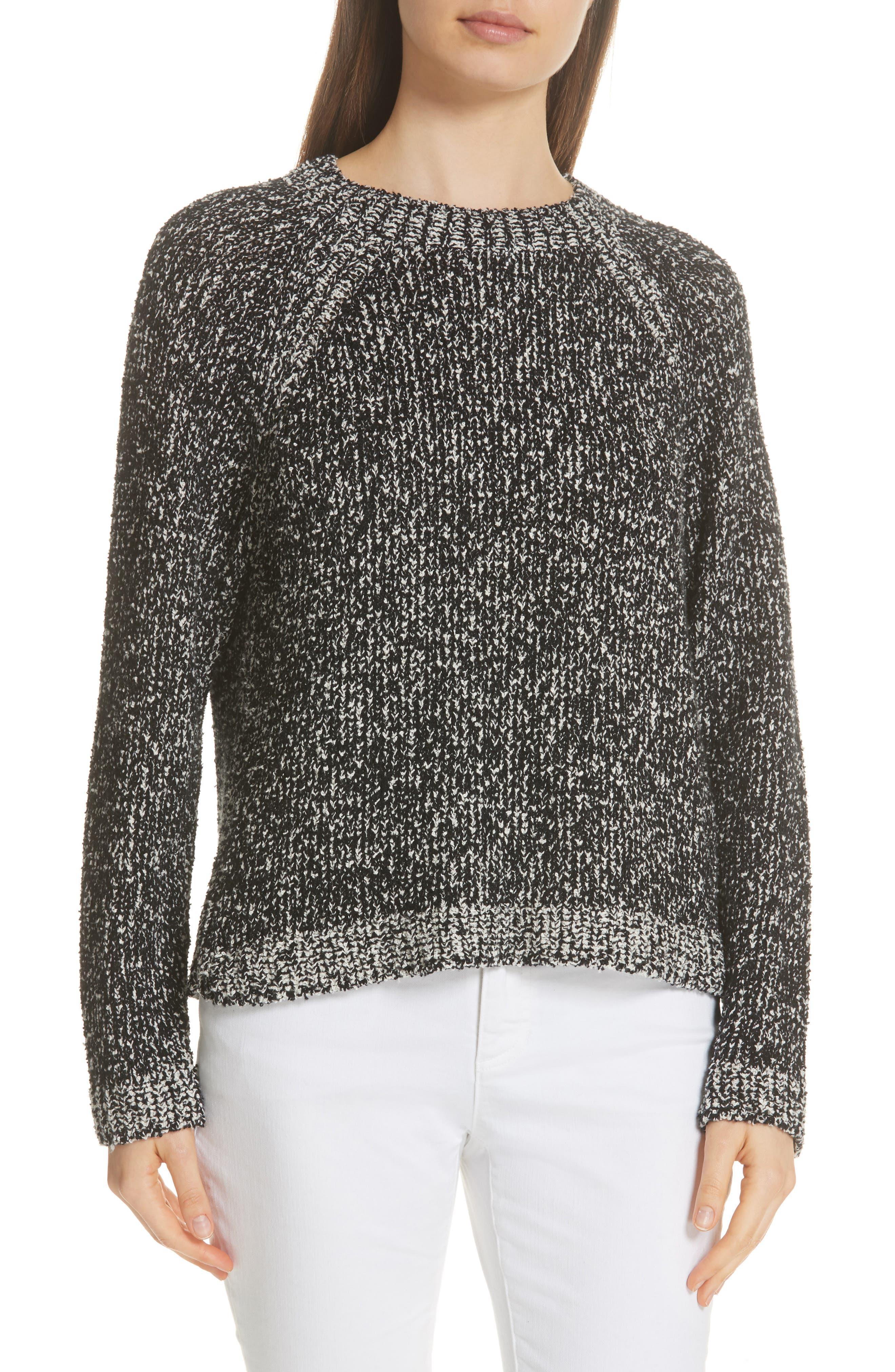 Round Neck Boxy Sweater,                             Main thumbnail 1, color,                             BLACK/ SOFT WHITE