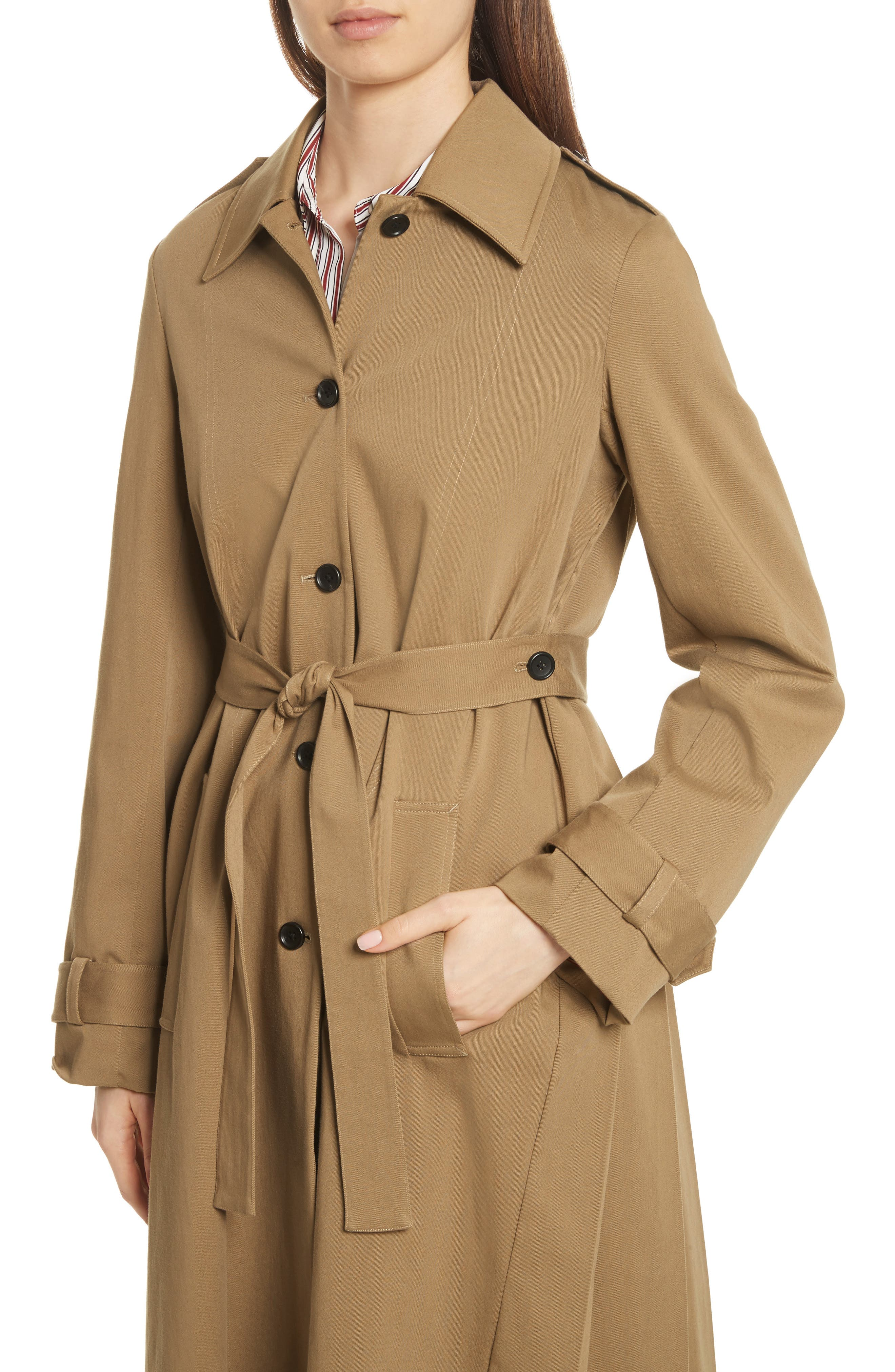 Pleat Back Trench Coat,                             Alternate thumbnail 4, color,                             250