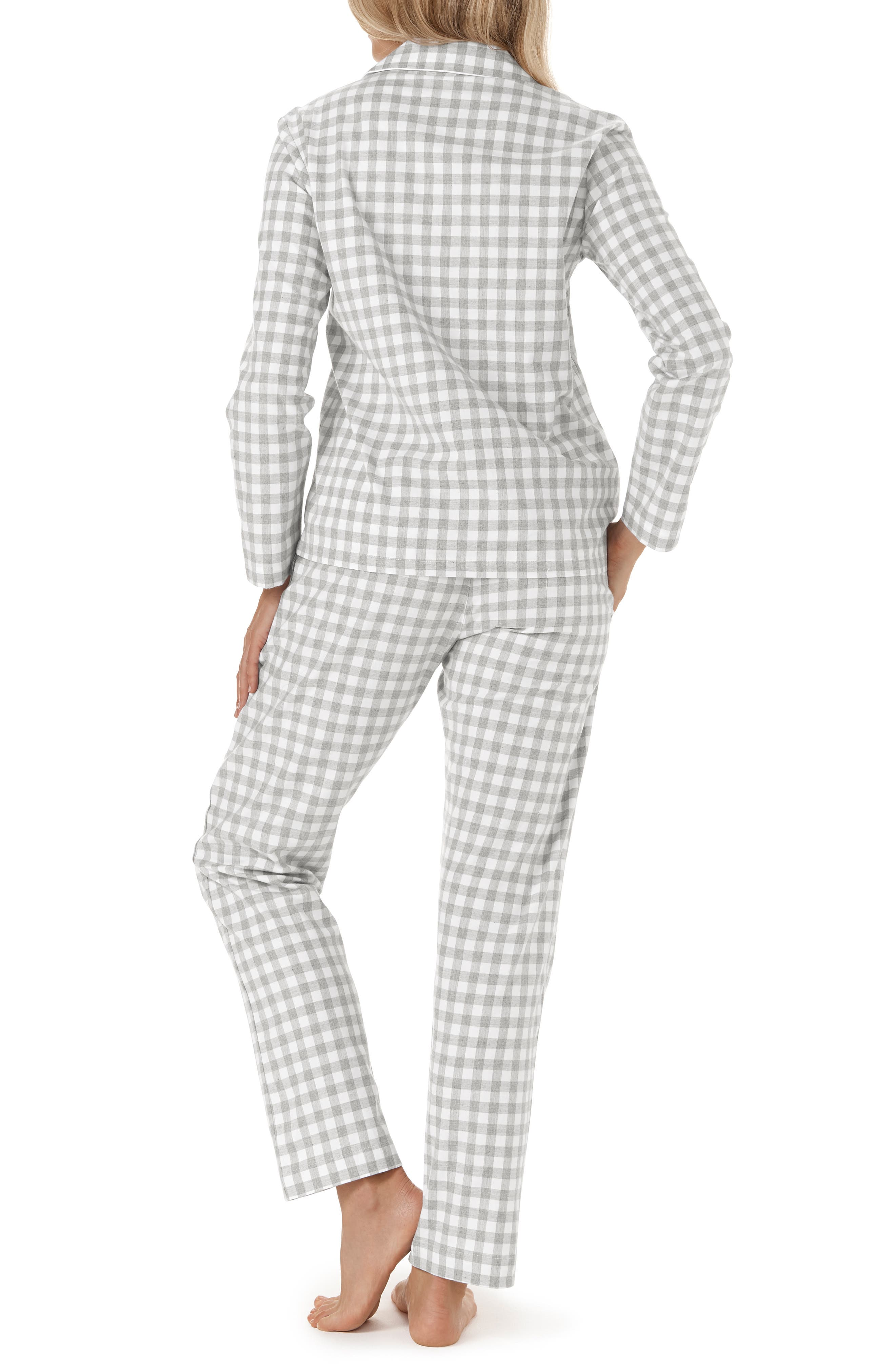 Gingham Check Pajamas,                             Alternate thumbnail 2, color,                             GREY/ WHITE GINGHAM