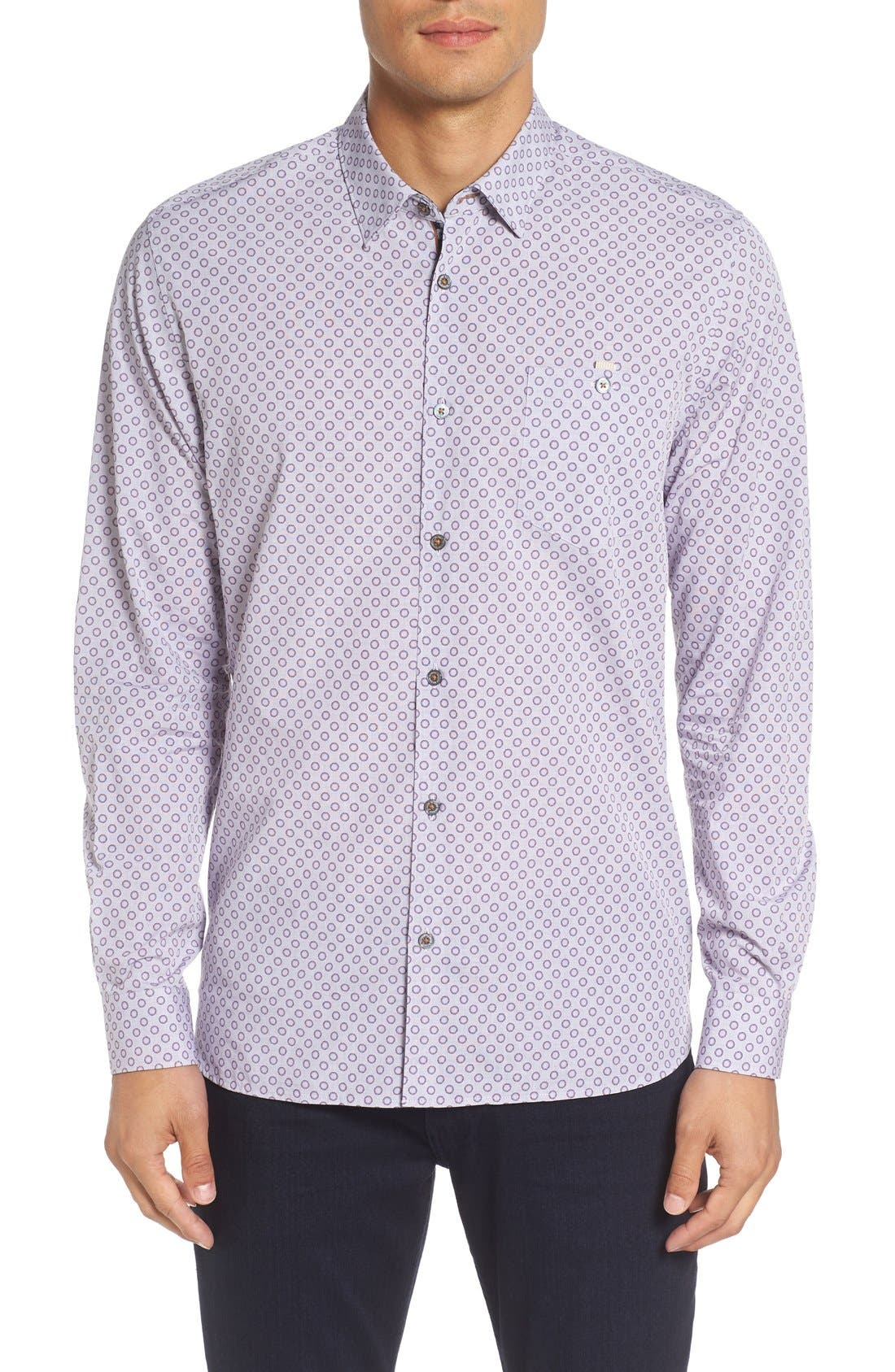TED BAKER LONDON 'Thegril' Trim Fit Print Sport Shirt, Main, color, 510