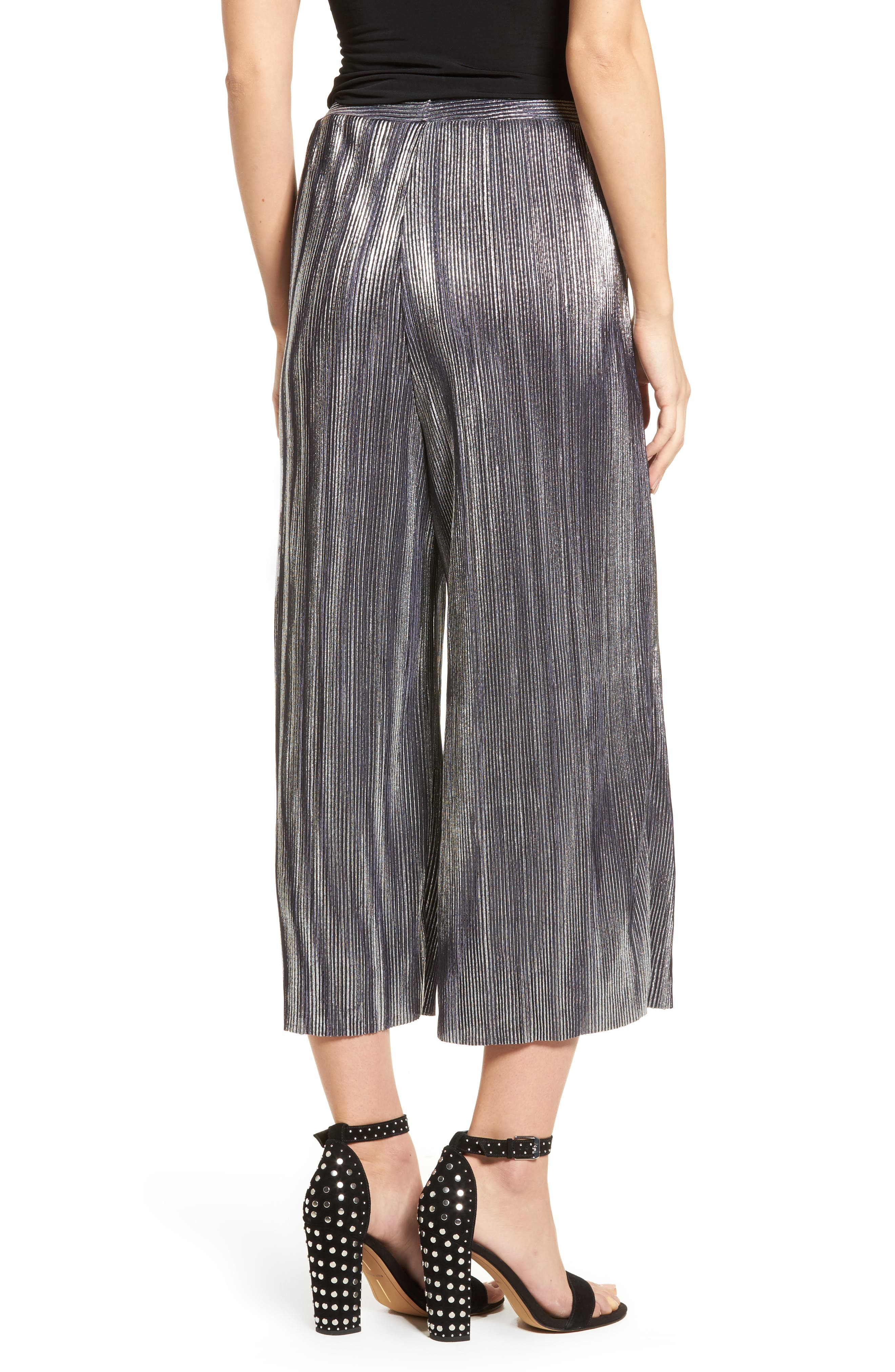 Metallic Pleated Crop Pants,                             Alternate thumbnail 2, color,                             046