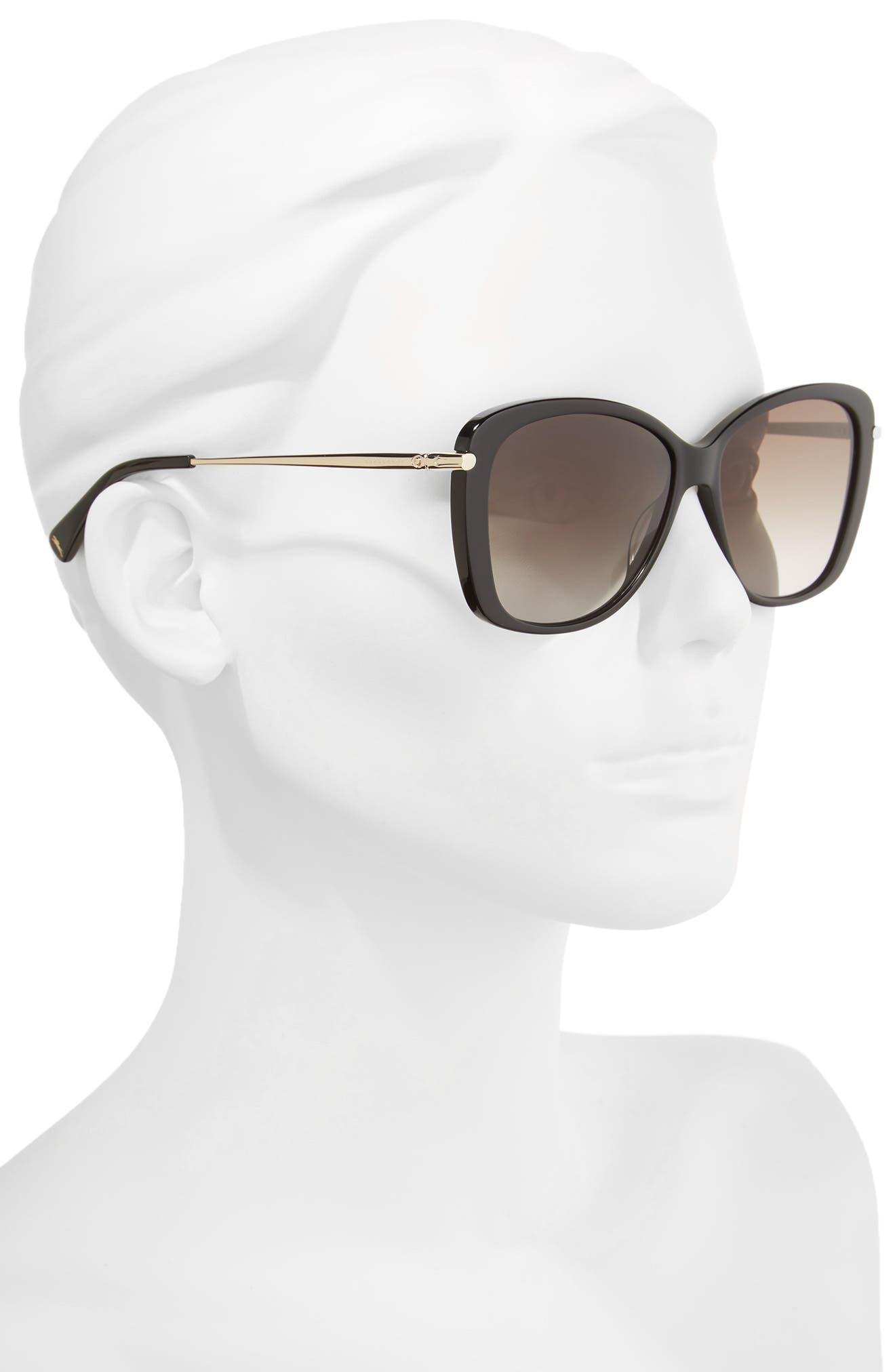 56mm Gradient Lens Butterfly Sunglasses,                             Alternate thumbnail 2, color,                             BLACK