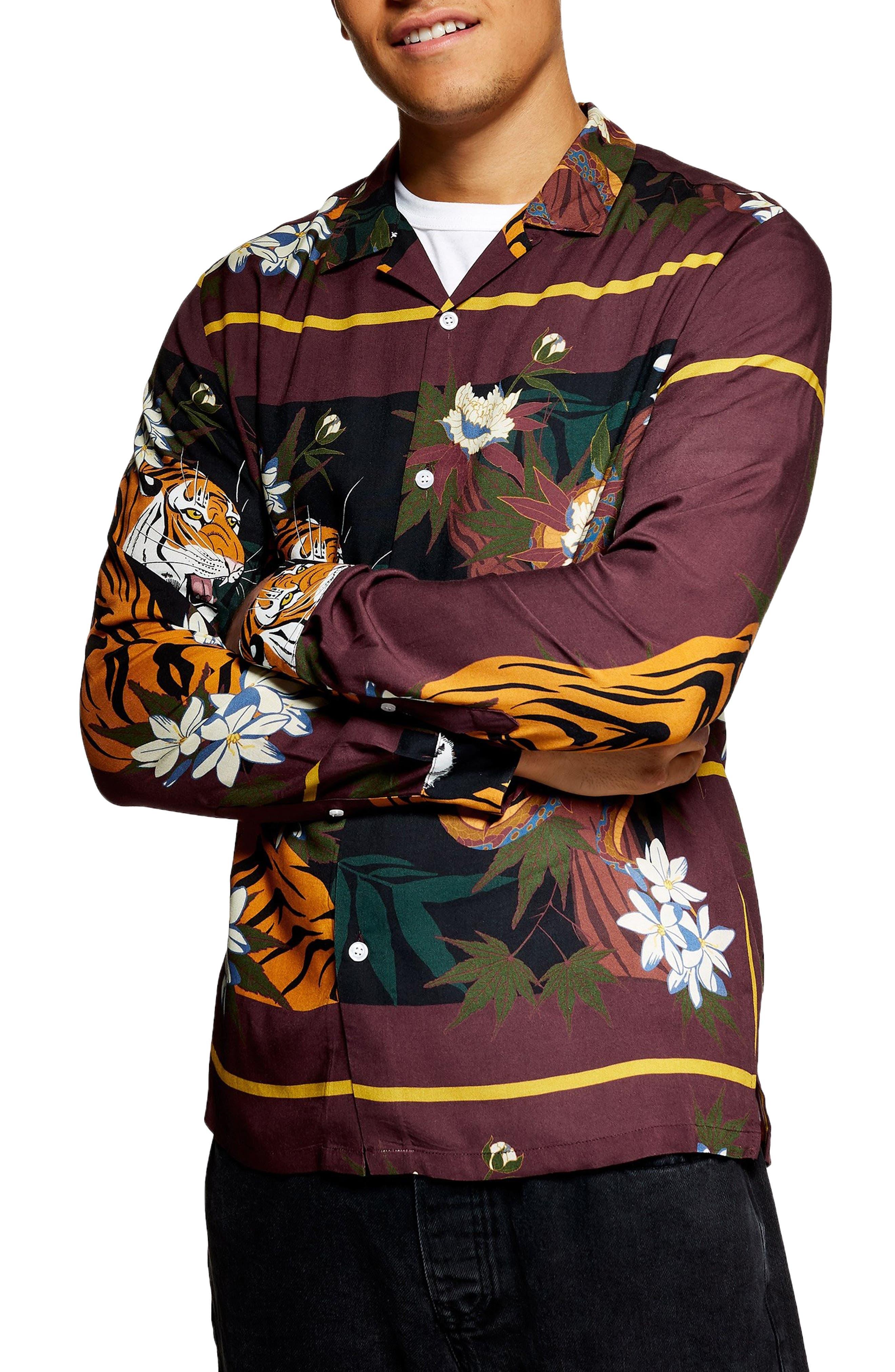 Tiger Snake Print Shirt,                             Main thumbnail 1, color,                             BURGUNDY MULTI