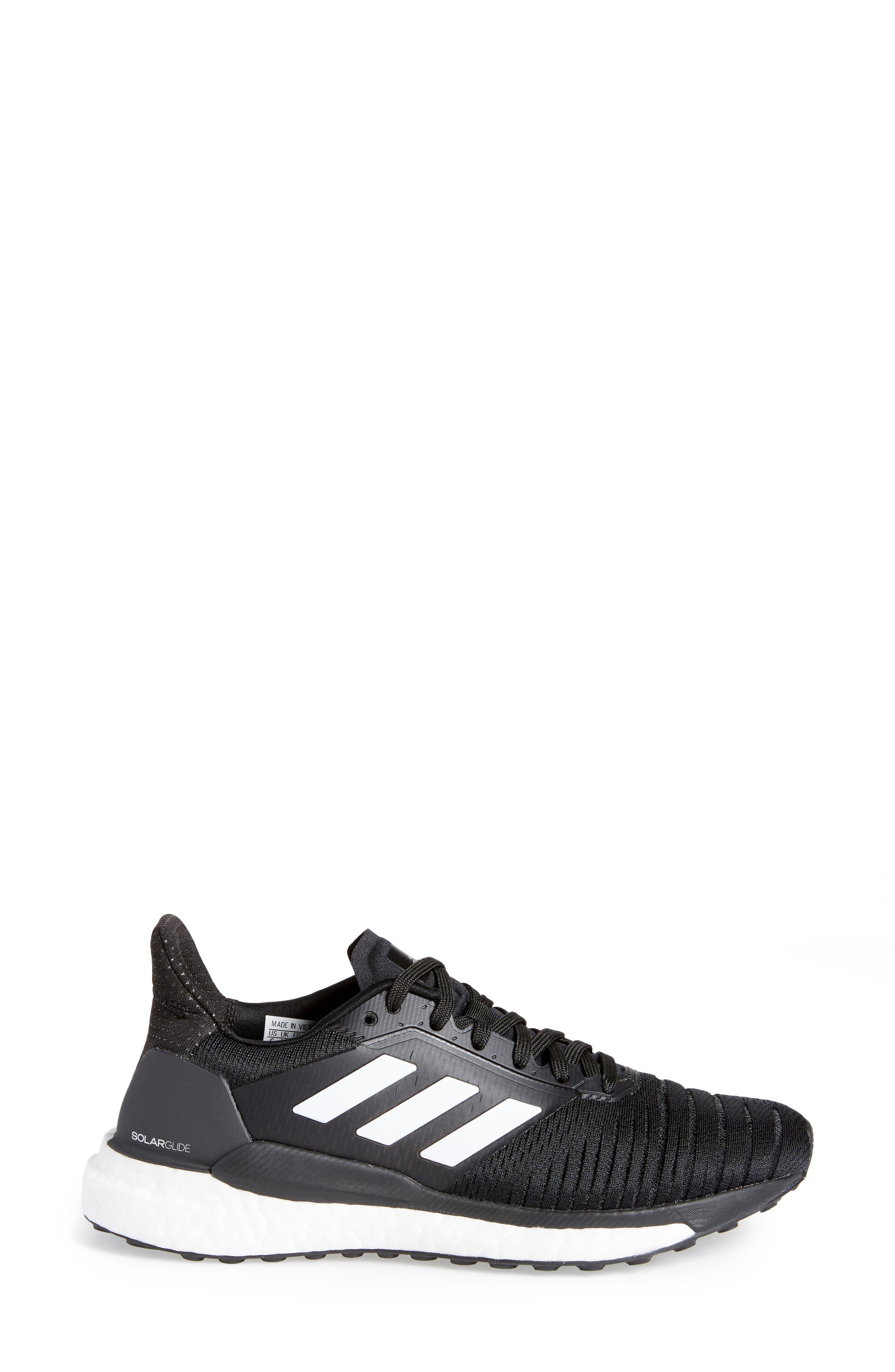 Solar Glide Running Shoe,                             Alternate thumbnail 3, color,                             BLACK/ WHITE/ BLACK