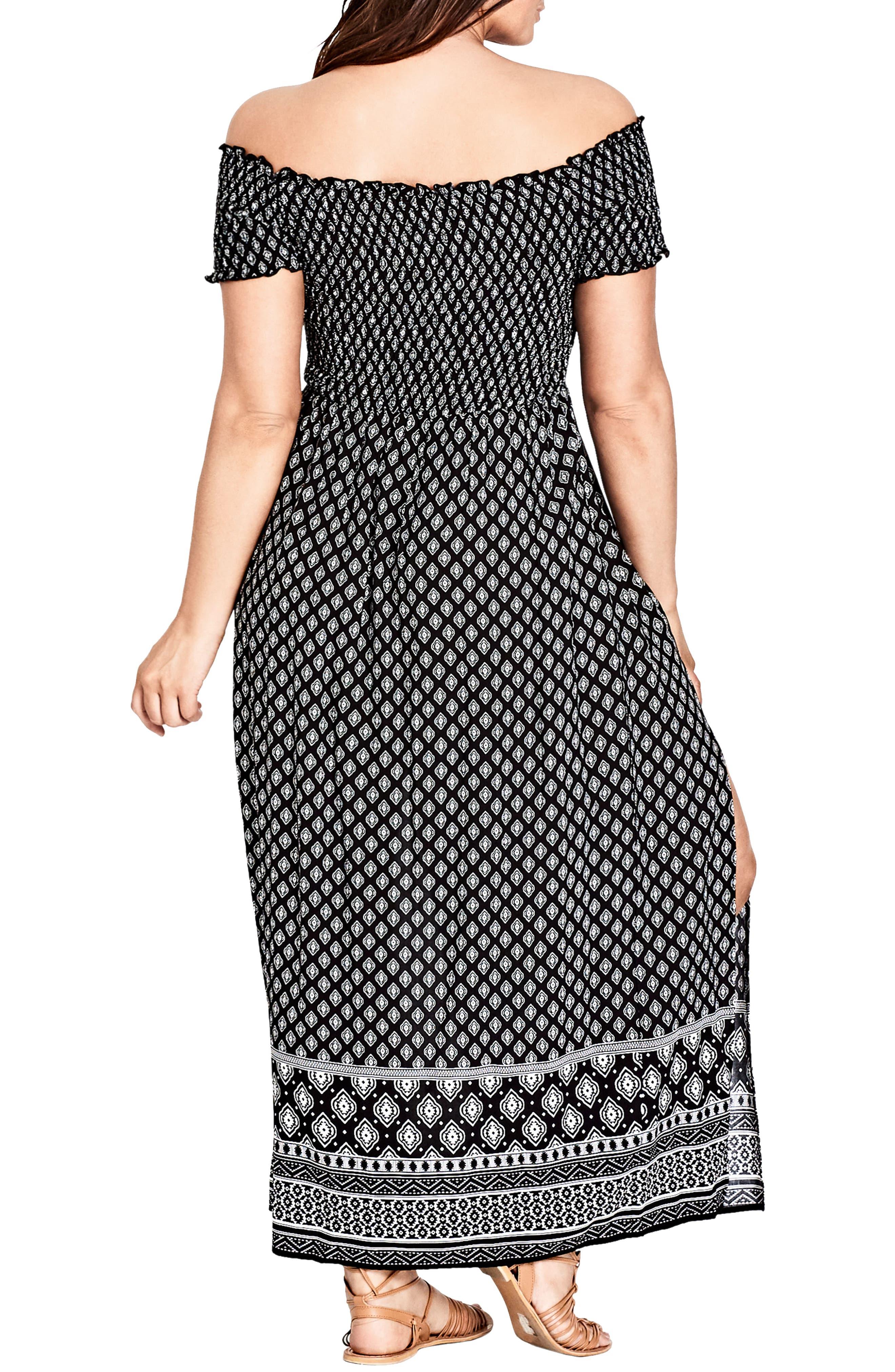Smocked Off the Shoulder Maxi Dress,                             Alternate thumbnail 2, color,                             BLACK PRINT