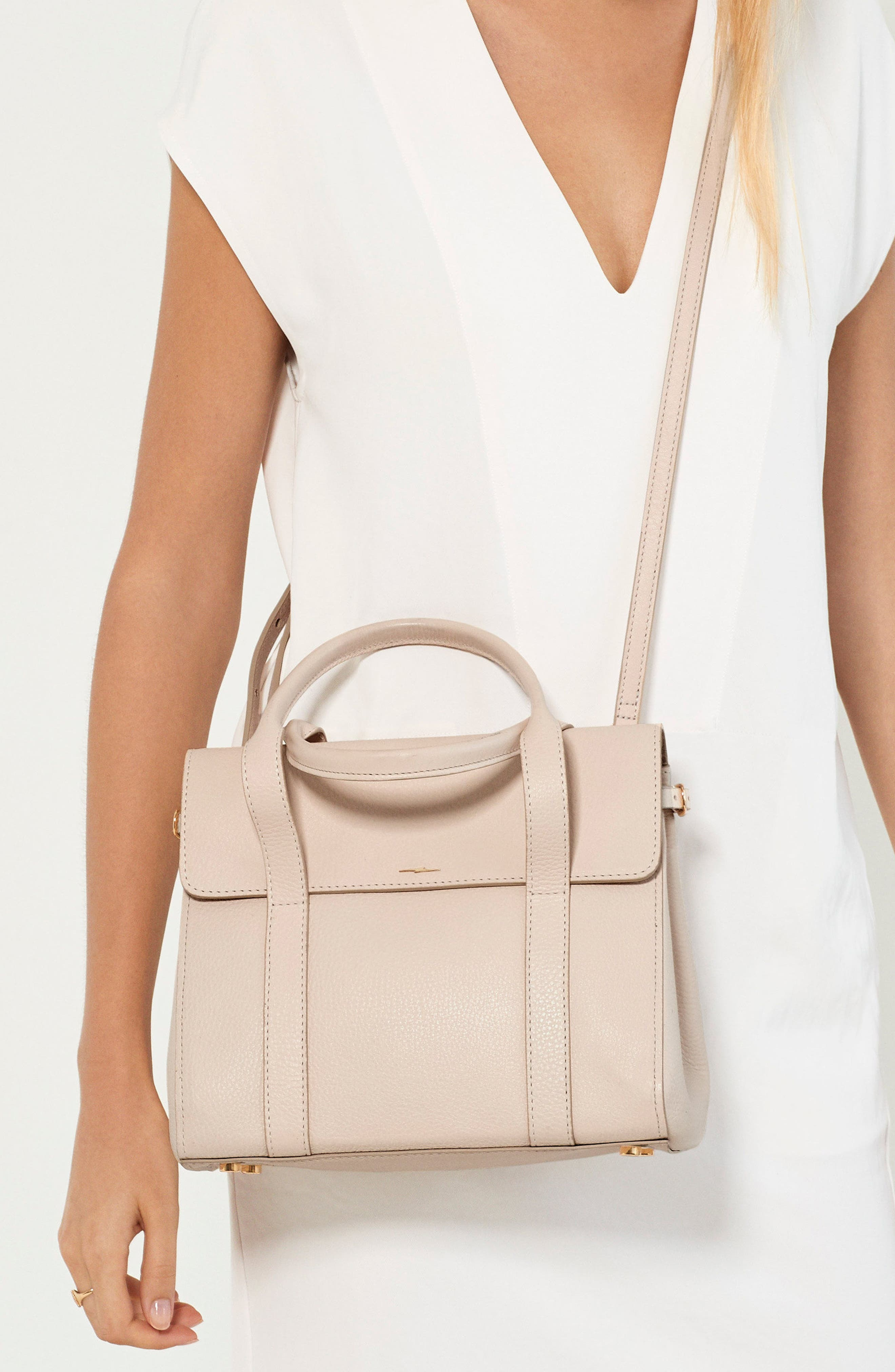 Small Grained Leather Satchel,                             Alternate thumbnail 2, color,                             SOFT BLUSH