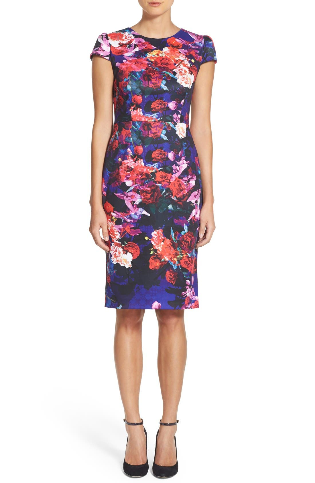 Print Stretch Midi Dress,                             Alternate thumbnail 4, color,                             002