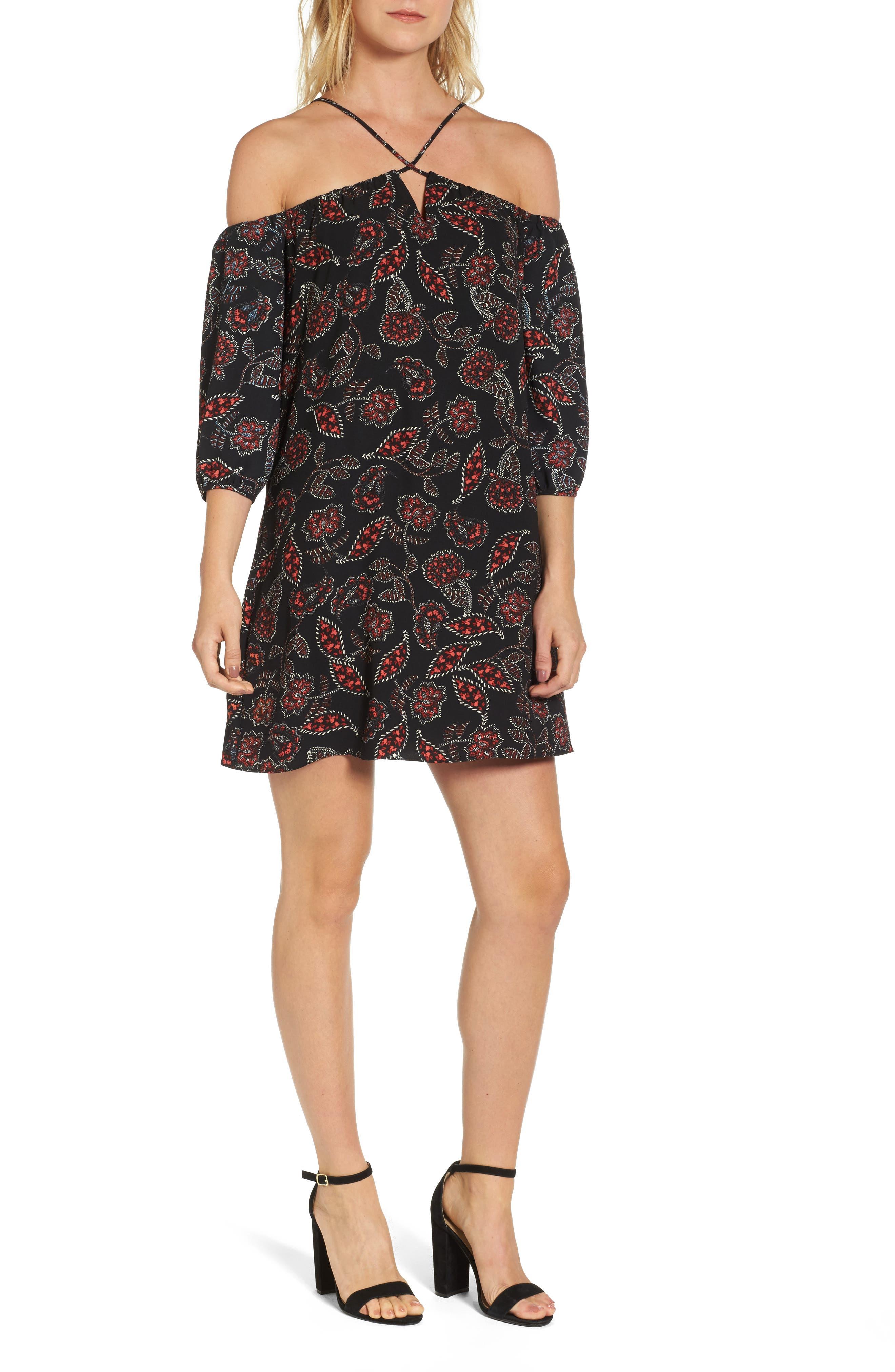 Ellinor Cold Shoulder Dress,                             Main thumbnail 1, color,                             001