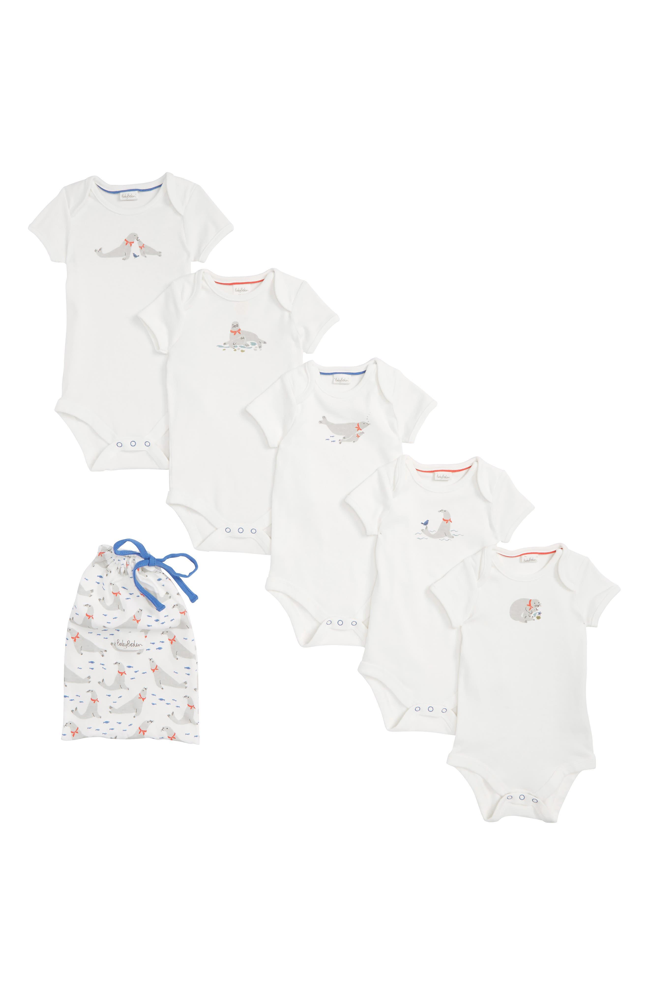 Seals 5-Pack Organic Cotton Bodysuits,                             Main thumbnail 1, color,                             904