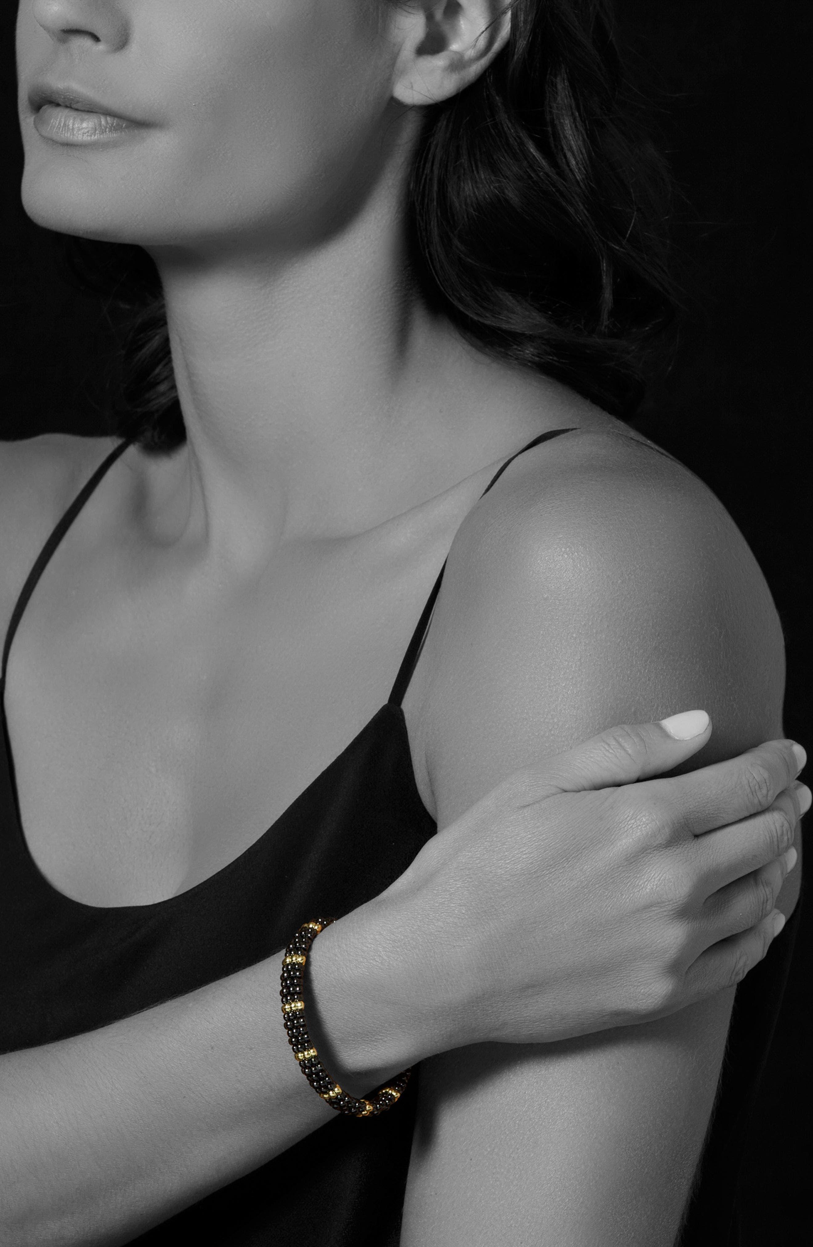 Gold & Black Caviar Station Bracelet,                             Alternate thumbnail 2, color,                             GOLD/ BLACK