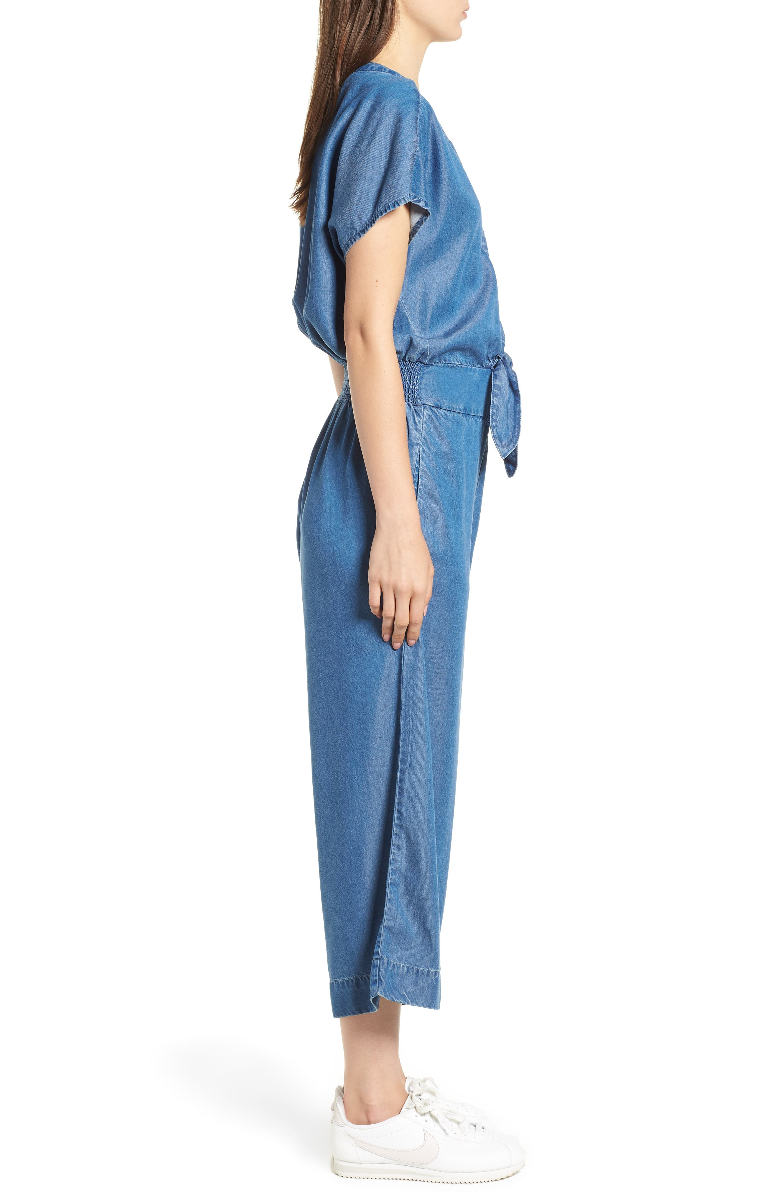 Desert Tie Waist Chambray Jumpsuit,                             Alternate thumbnail 3, color,                             MED WASH