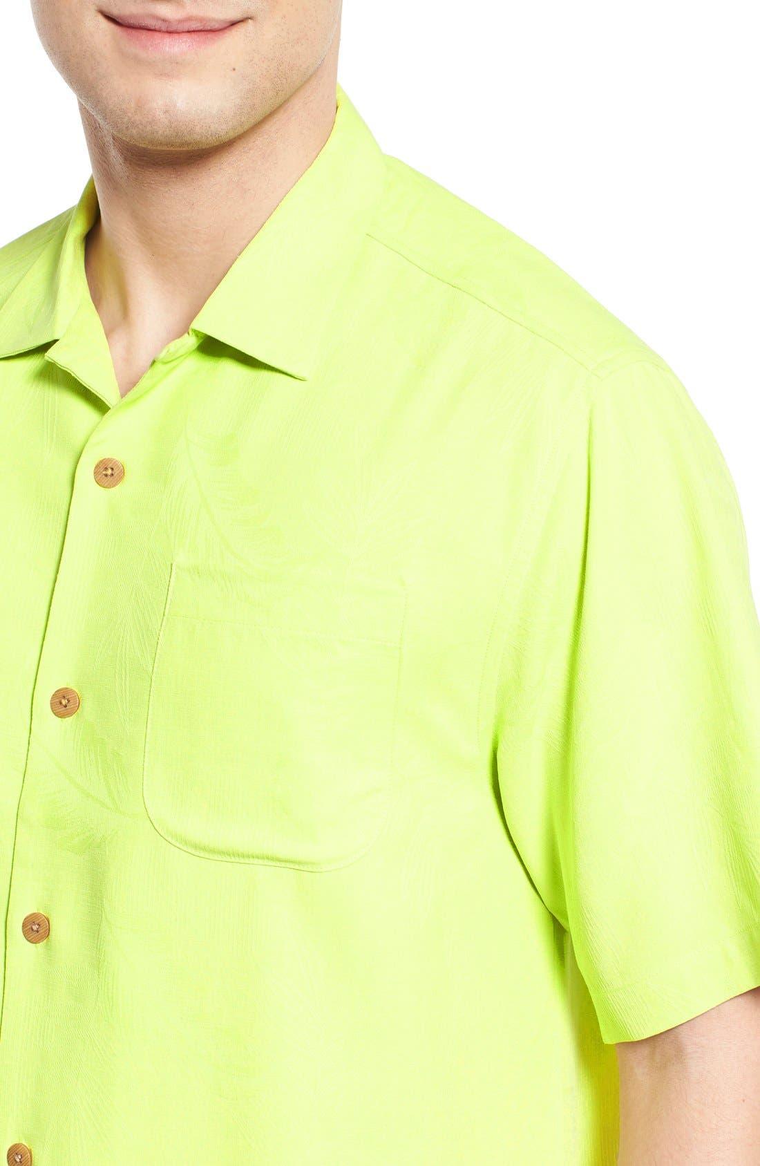 Rio Fronds Short Sleeve Silk Sport Shirt,                             Alternate thumbnail 52, color,