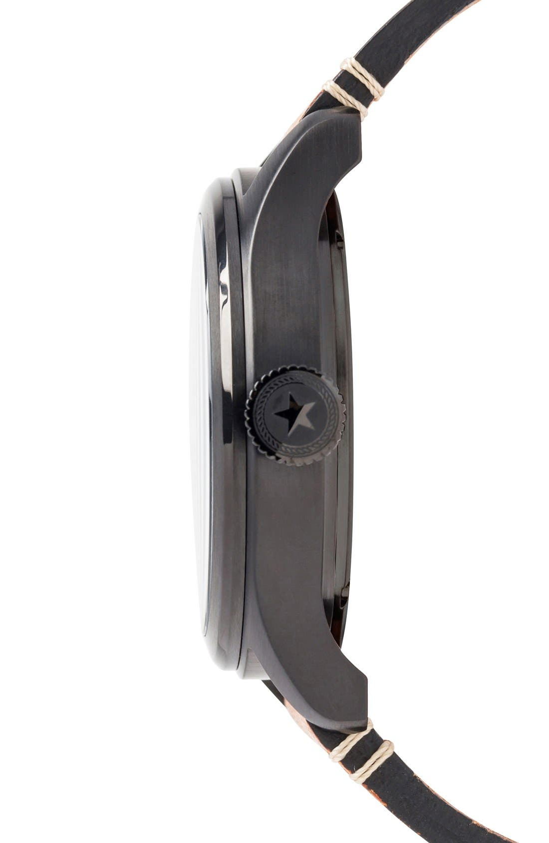 Aviation Leather Strap Watch, 42mm,                             Alternate thumbnail 3, color,                             BLACK/ BLACK/ TAN