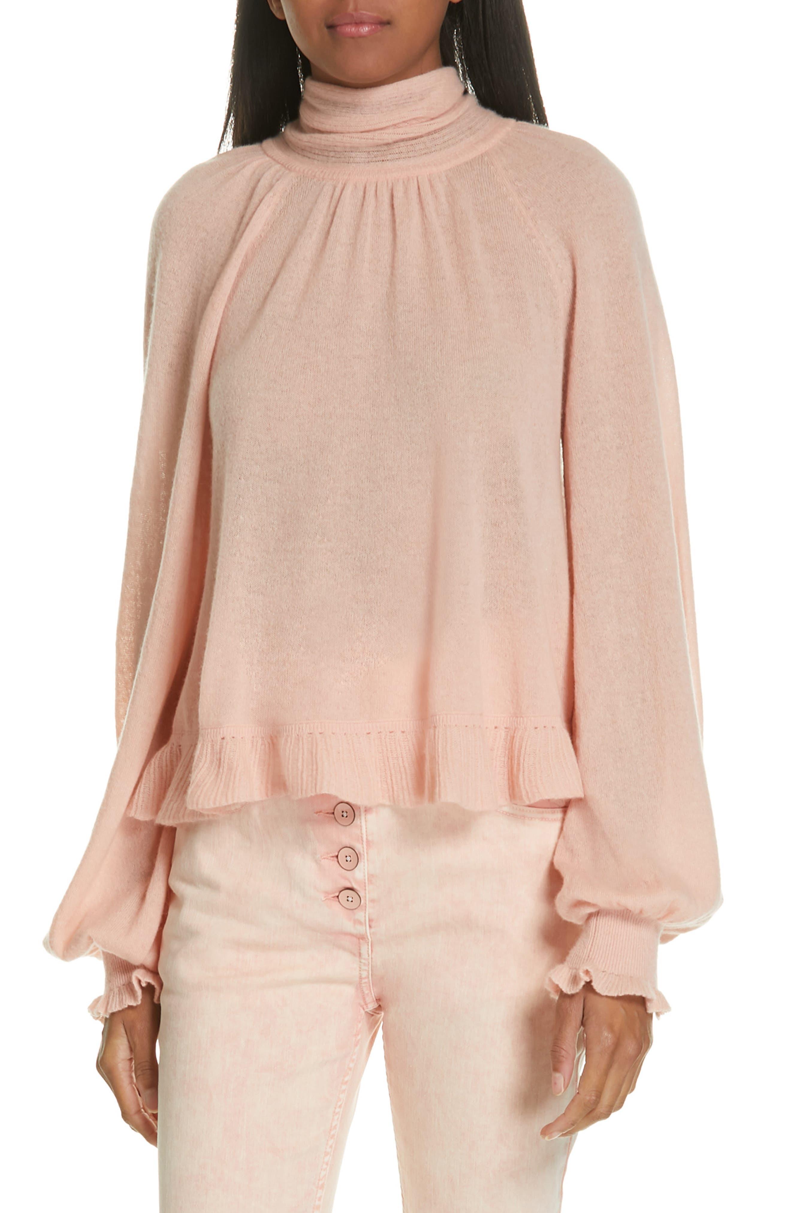 Clover Tie Back Cashmere Blend Sweater,                             Main thumbnail 1, color,                             ROSE
