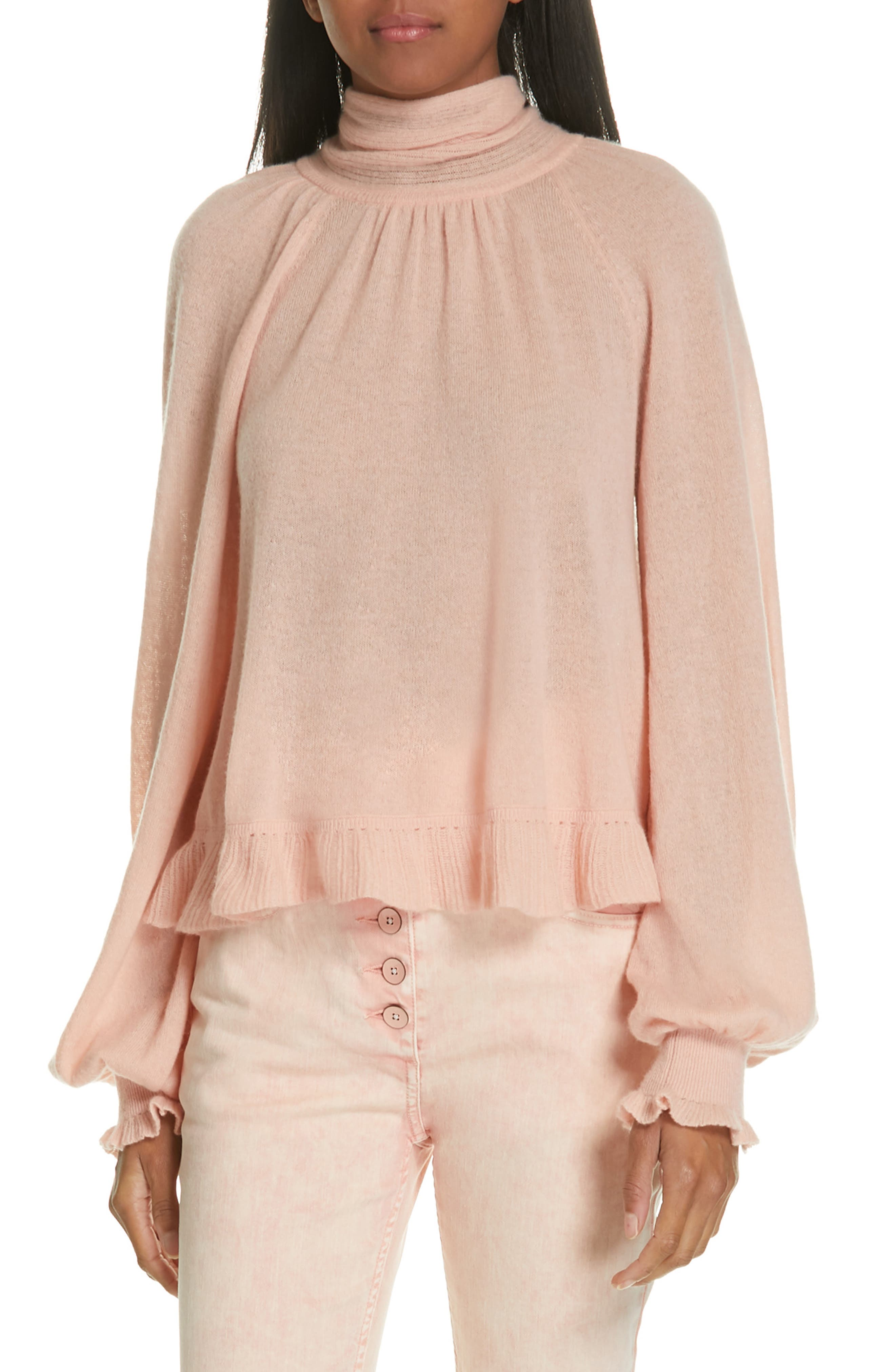 Clover Tie Back Cashmere Blend Sweater, Main, color, ROSE